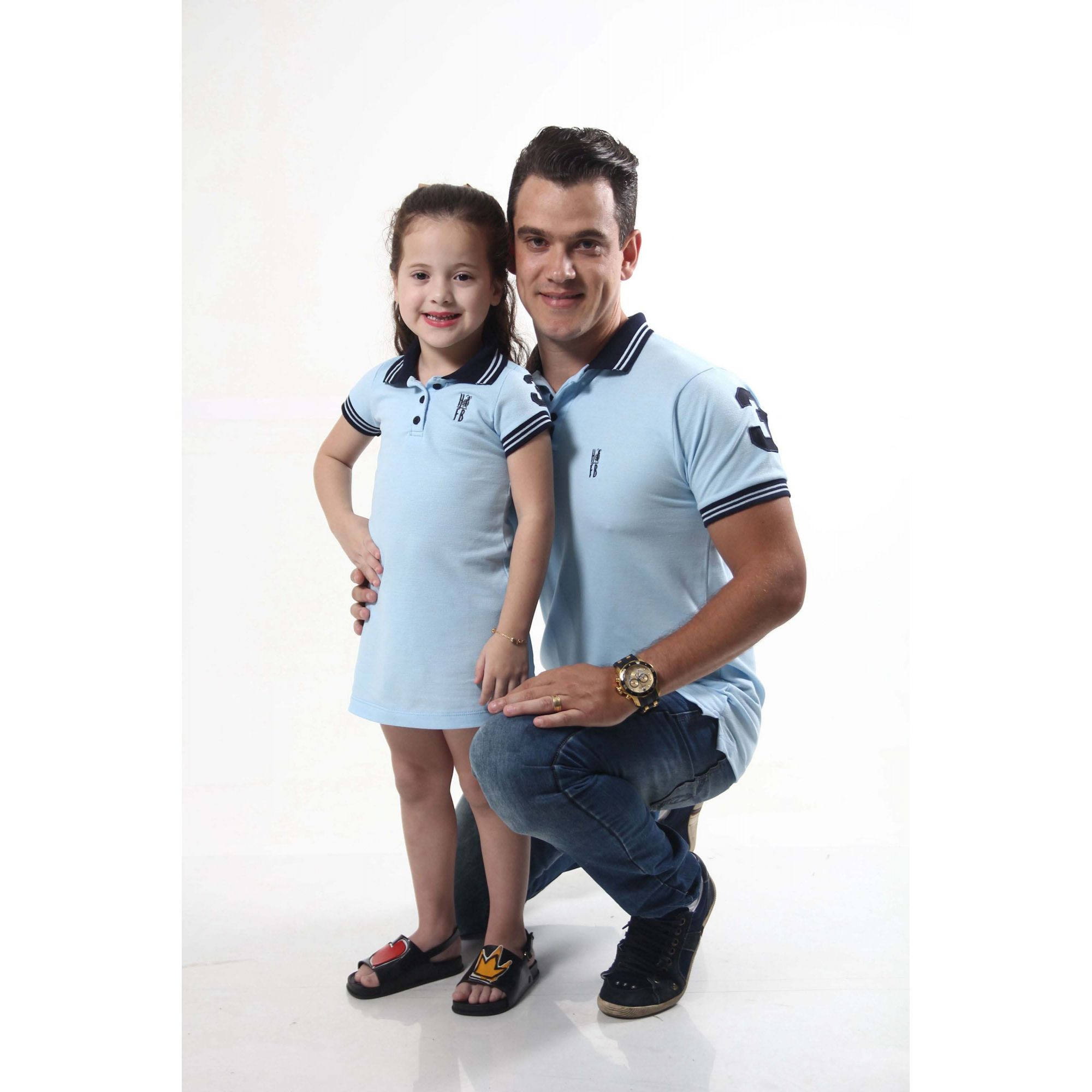 PAI E FILHA > Kit 02 peças Camisa Polo e Vestido Azul Nobreza [Coleção Tal Pai Tal Filho]