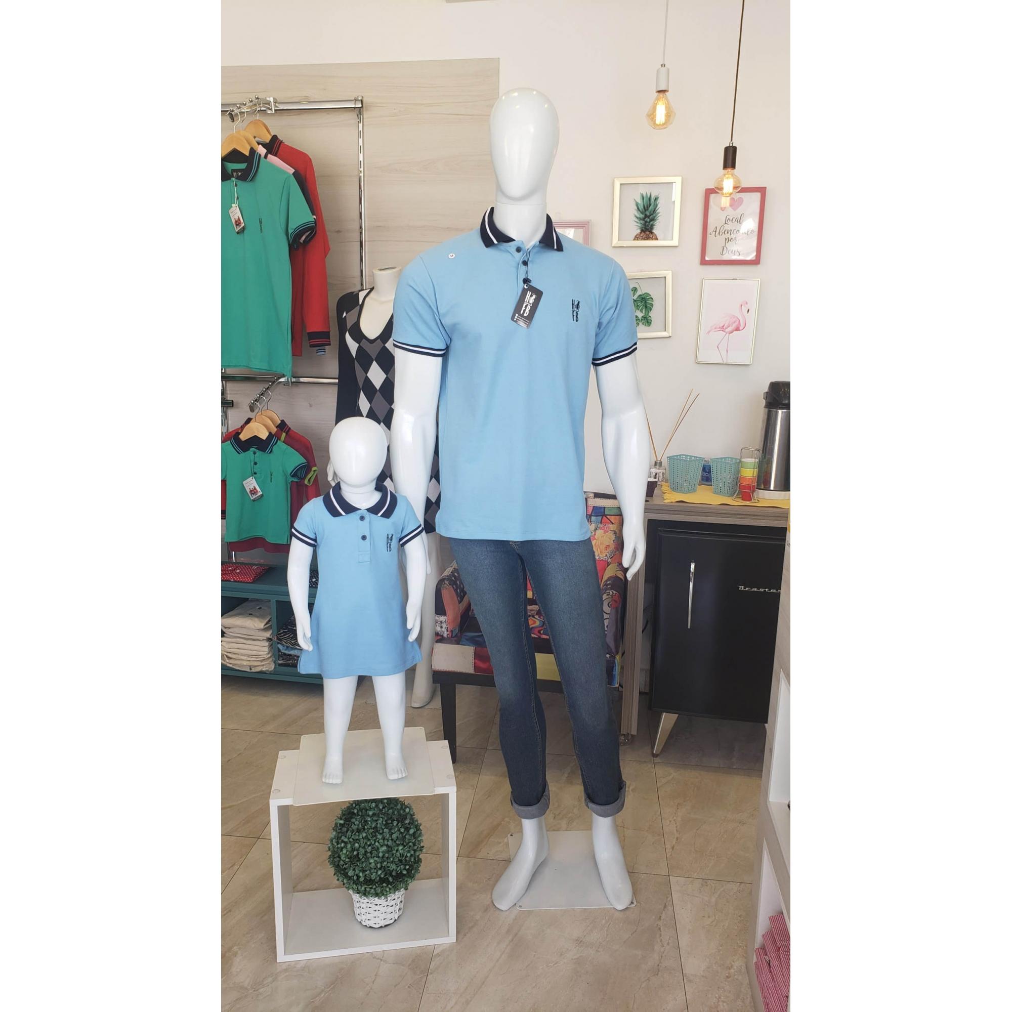 PAI E FILHA > Kit 02 peças Camisa Polo e Vestido Azul Nobreza [Coleção Tal Pai Tal Filho]  - Heitor Fashion Brazil