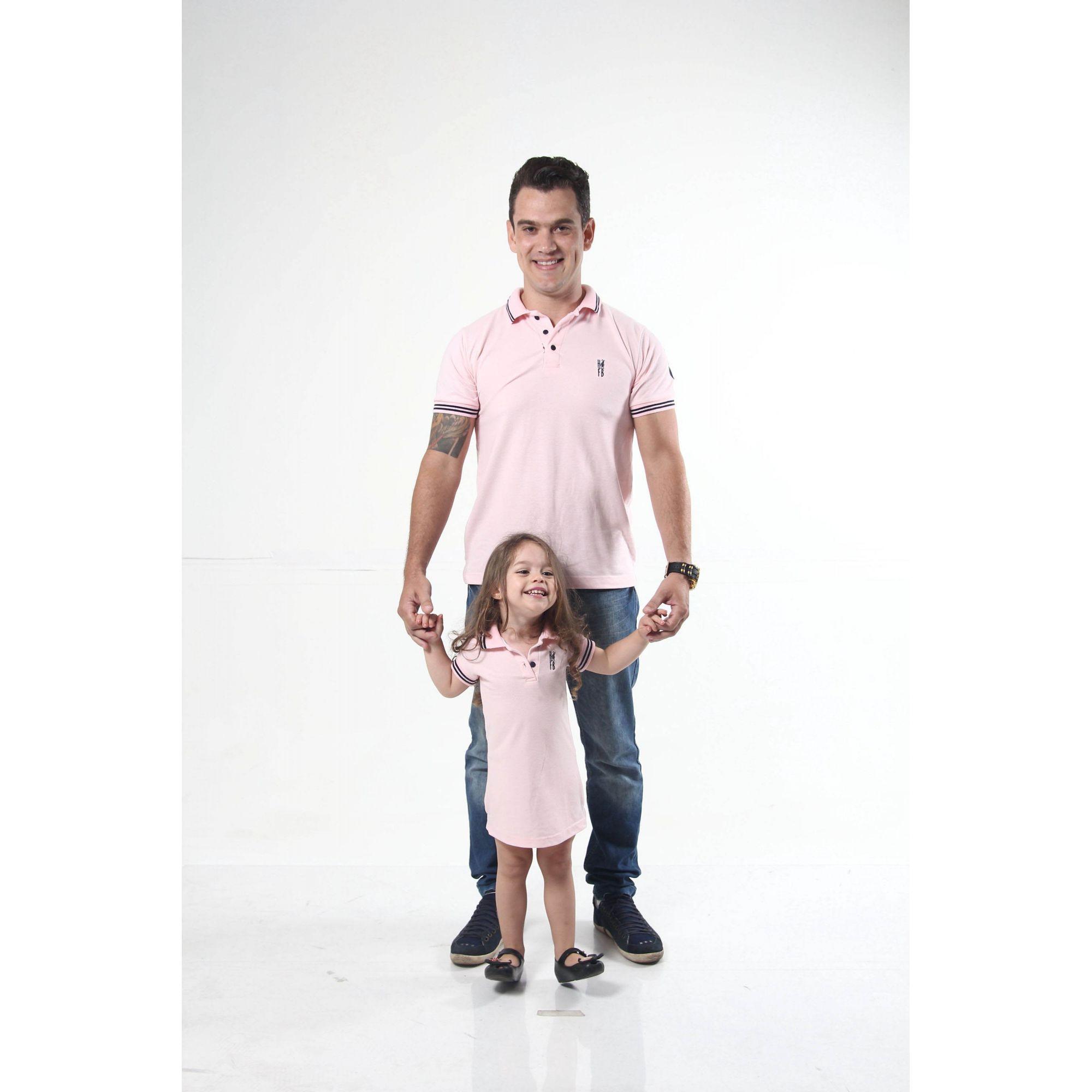 PAI E FILHA > Kit 02 peças Camisa Polo e Vestido Rosa Amor [Coleção Tal Pai Tal Filho]  - Heitor Fashion Brazil