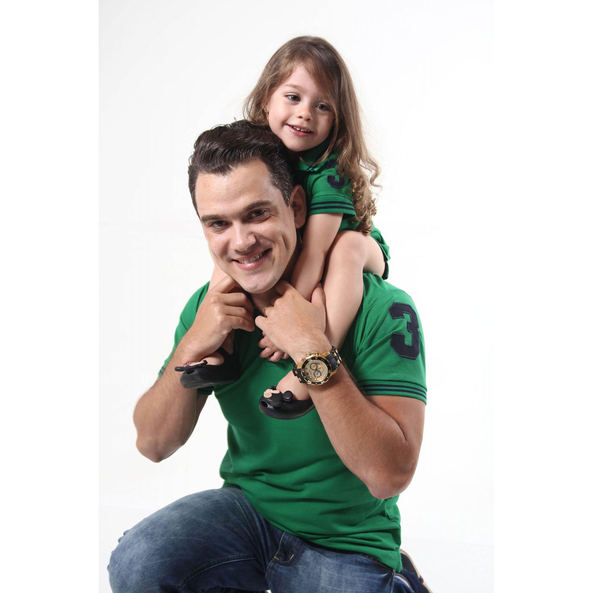 PAI E FILHA > Kit 02 peças Camisa Polo e Vestido Verde Esperança [Coleção Tal Pai Tal Filho]  - Heitor Fashion Brazil
