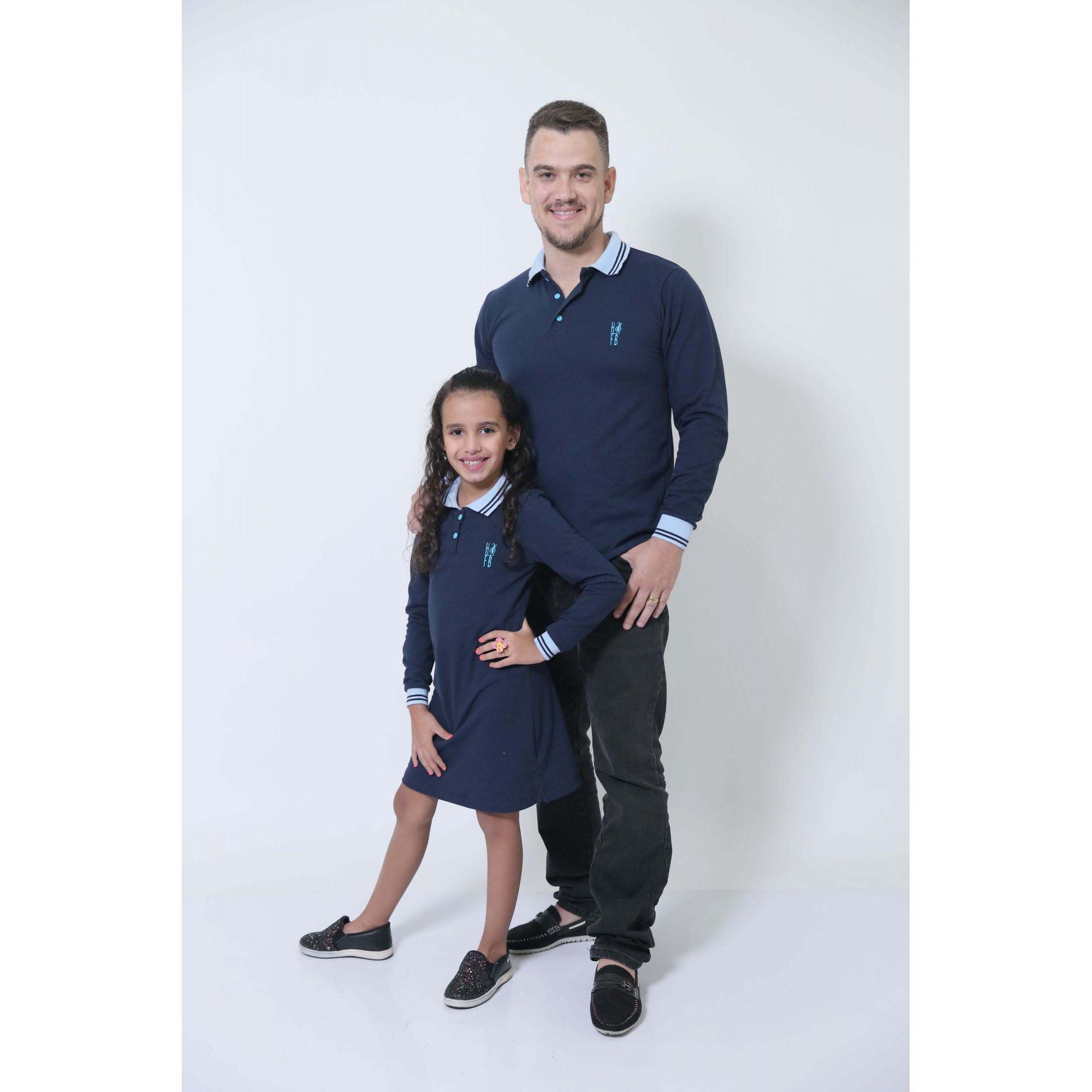 PAI E FILHA > Kit 02 Peças Camisa + Vestido Polo Infantil Azul Manga Longa [Coleção Tal Pai Tal Filho]