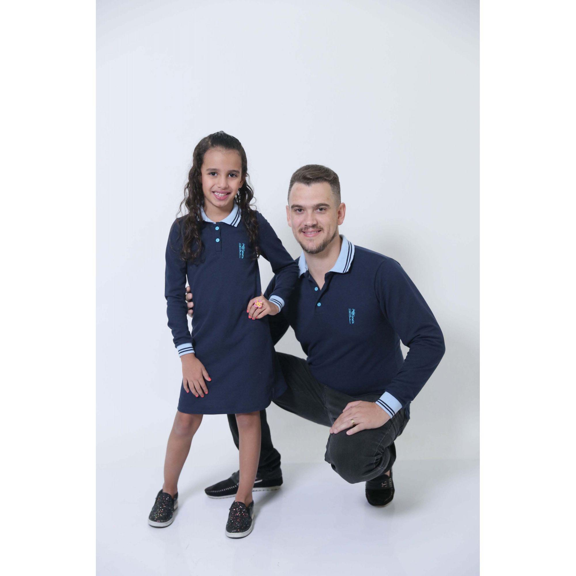 PAI E FILHA > Kit 02 Peças Camisa + Vestido Polo Infantil Azul Manga Longa [Coleção Tal Pai Tal Filho]  - Heitor Fashion Brazil