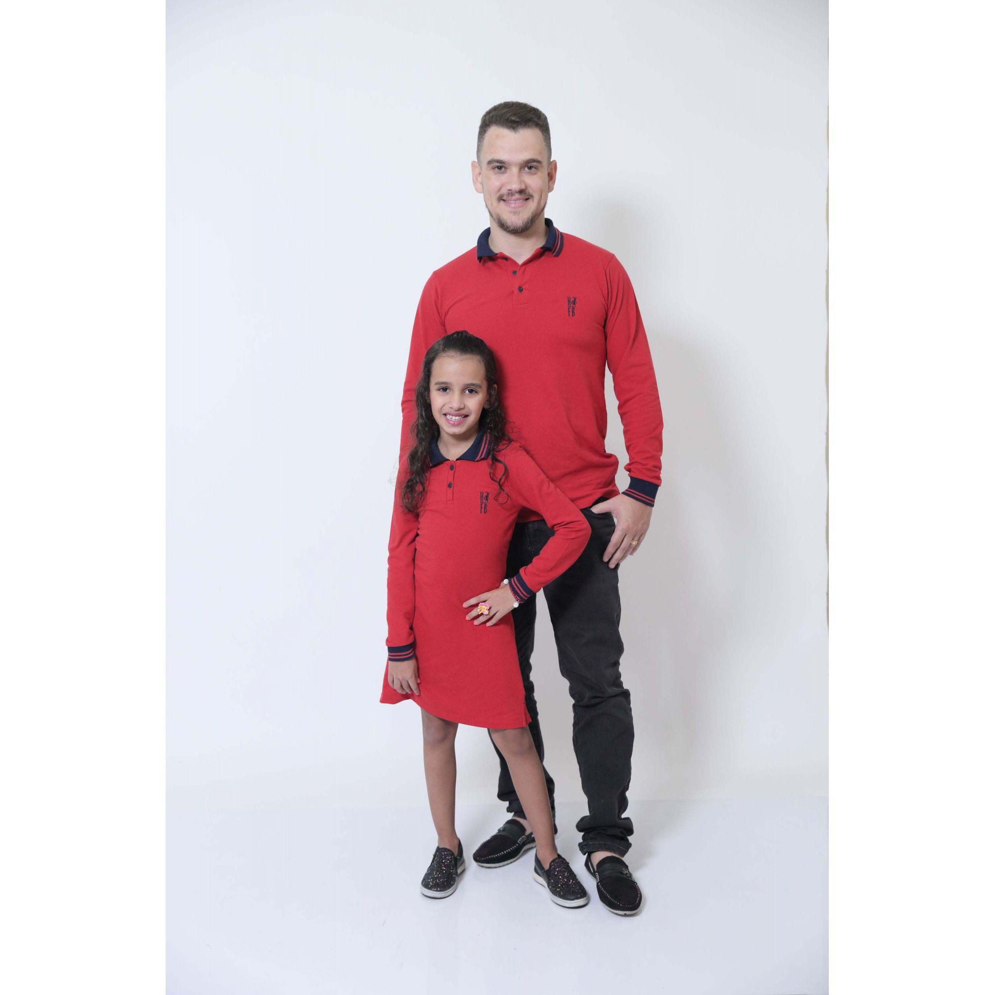 PAI E FILHA > Kit 02 Peças Camisa + Vestido Polo Infantil Vermelho Manga Longa [Coleção Tal Pai Tal Filho]