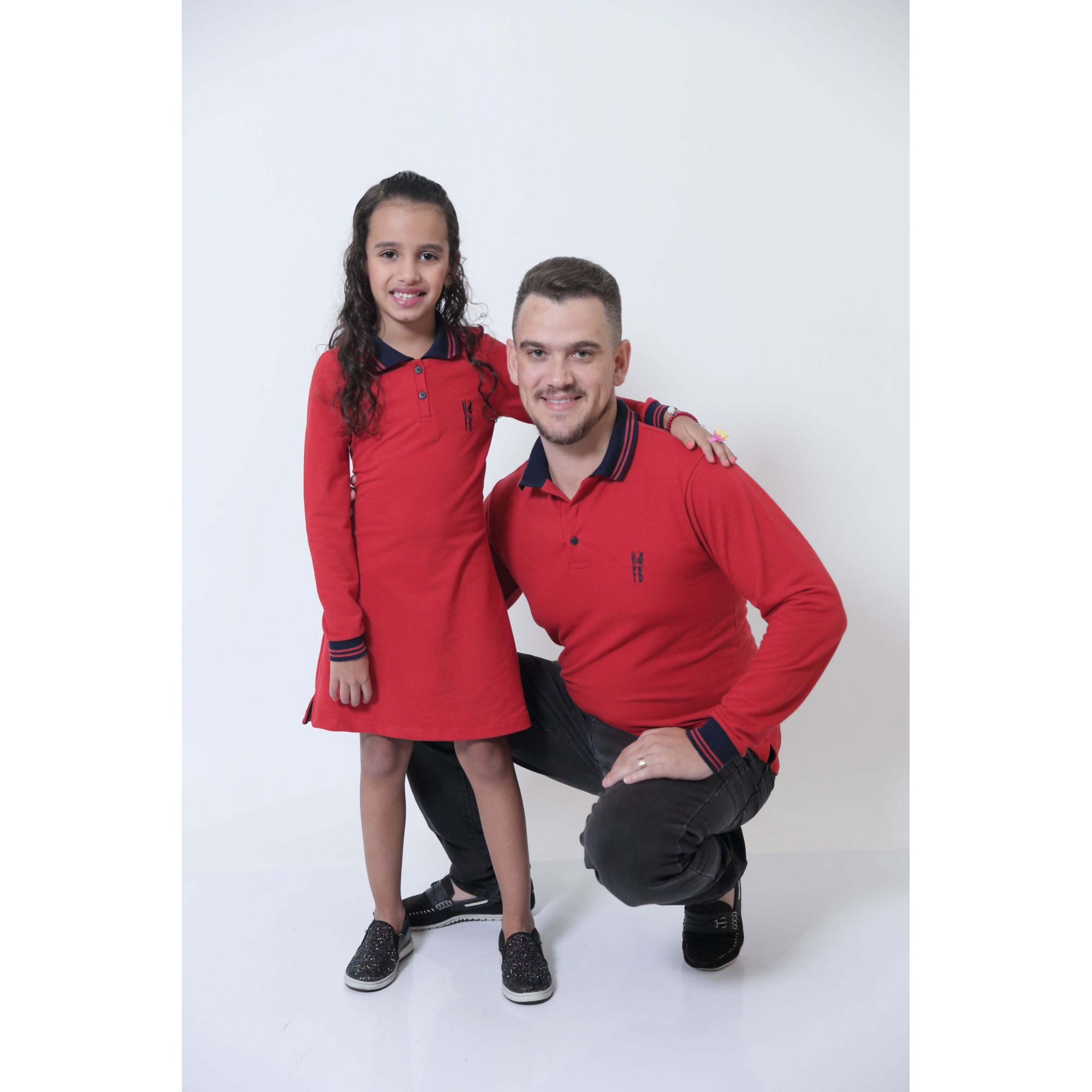 PAI E FILHA > Kit Camisa + Vestido Polo Infantil Vermelho ML [Coleção Tal Pai Tal Filho]  - Heitor Fashion Brazil