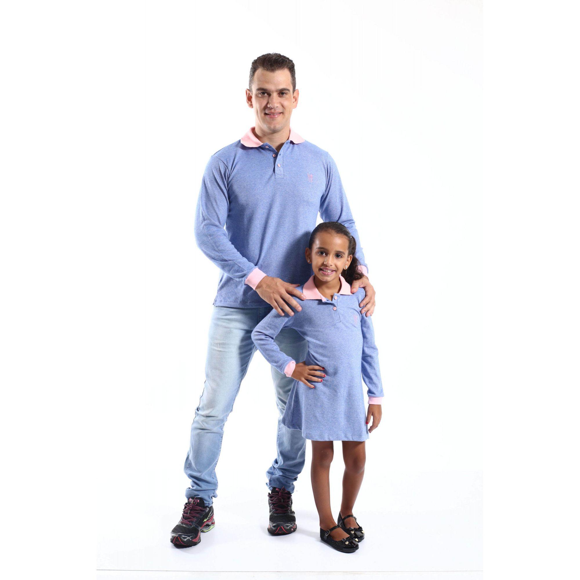 PAI E FILHA > Kit Polo e Vestido Azuis [Coleção Tal Pai Tal Filho]  - Heitor Fashion Brazil