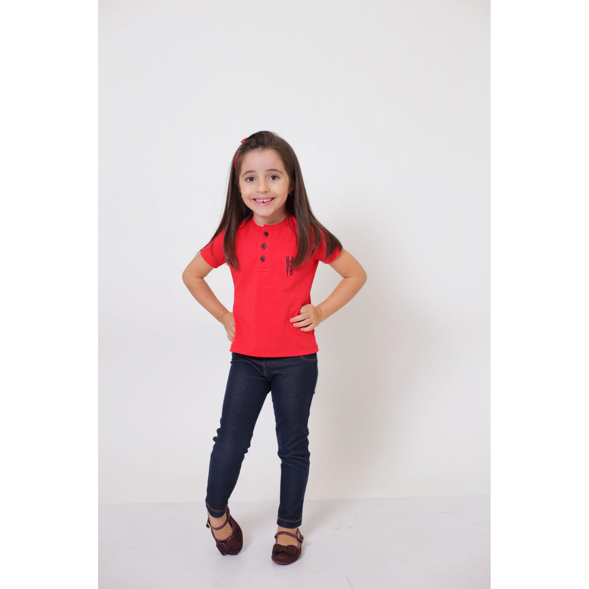 PAI E FILHA > T-Shirt Adulto  + T-Shirt ou Body Infantil - Henley - Vermelho  [Coleção Tal Pai Tal Filha]  - Heitor Fashion Brazil