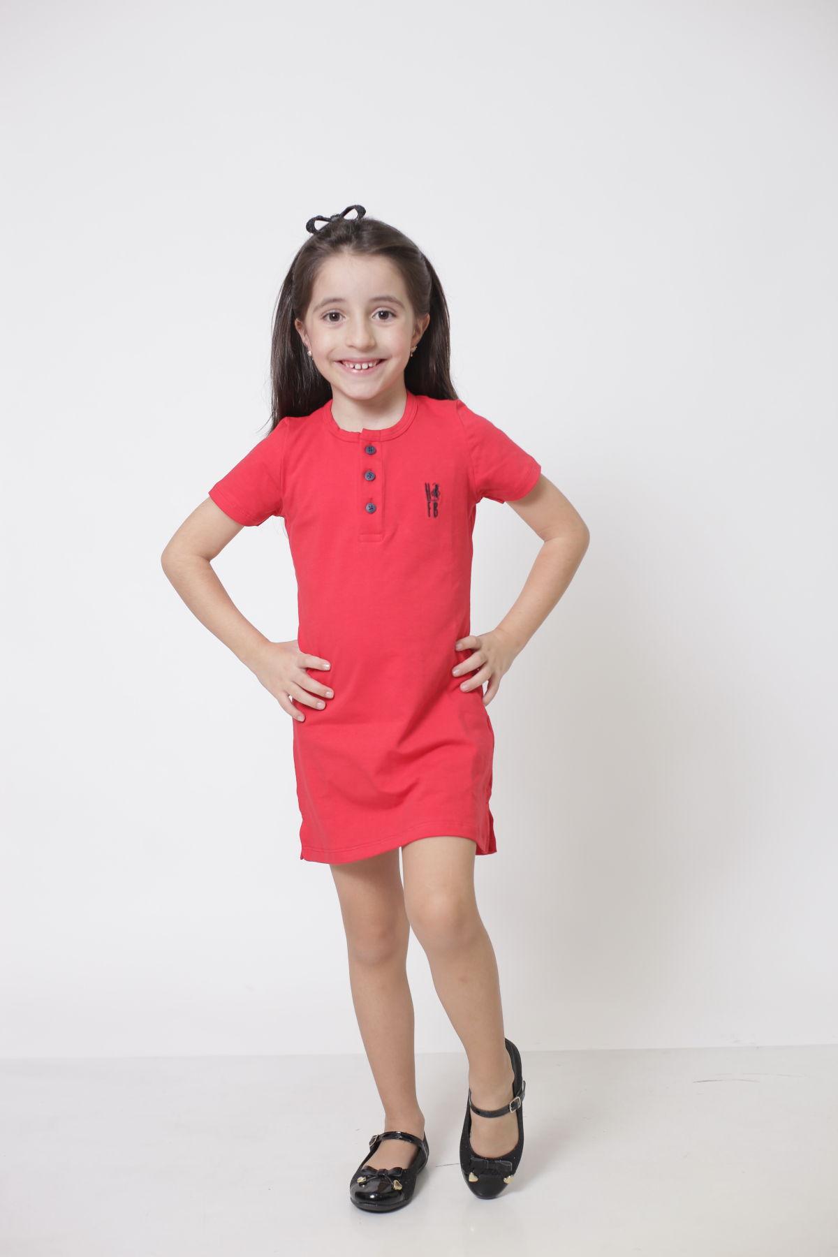 PAI E FILHA > T-Shirt Adulto  + Vestido Infantil - Henley - Vermelho  [Coleção Tal Pai Tal Filha]  - Heitor Fashion Brazil