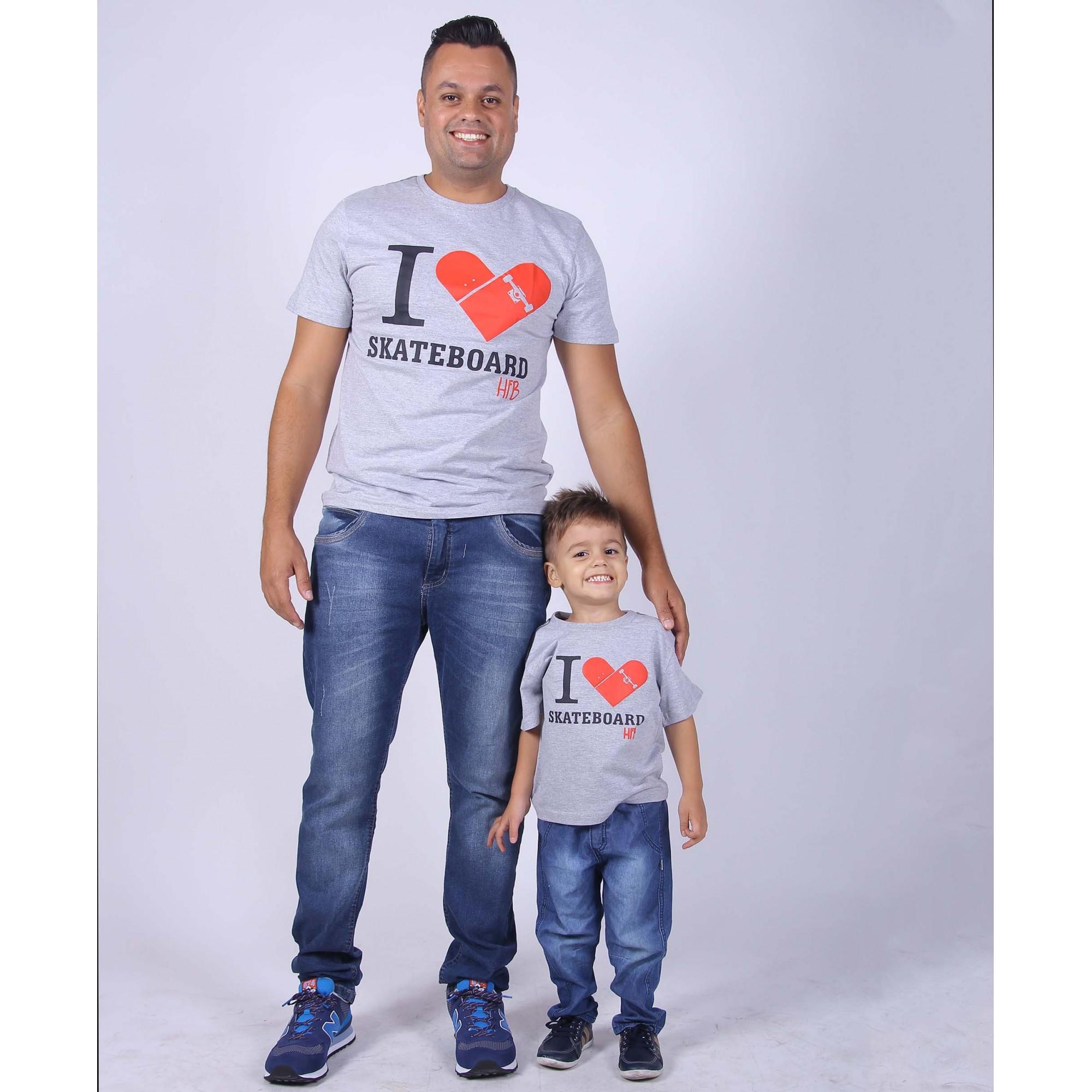 PAI E FILHO> 02 Camisetas - I-Love - Skate  [Coleção Tal Pai Tal Filho]