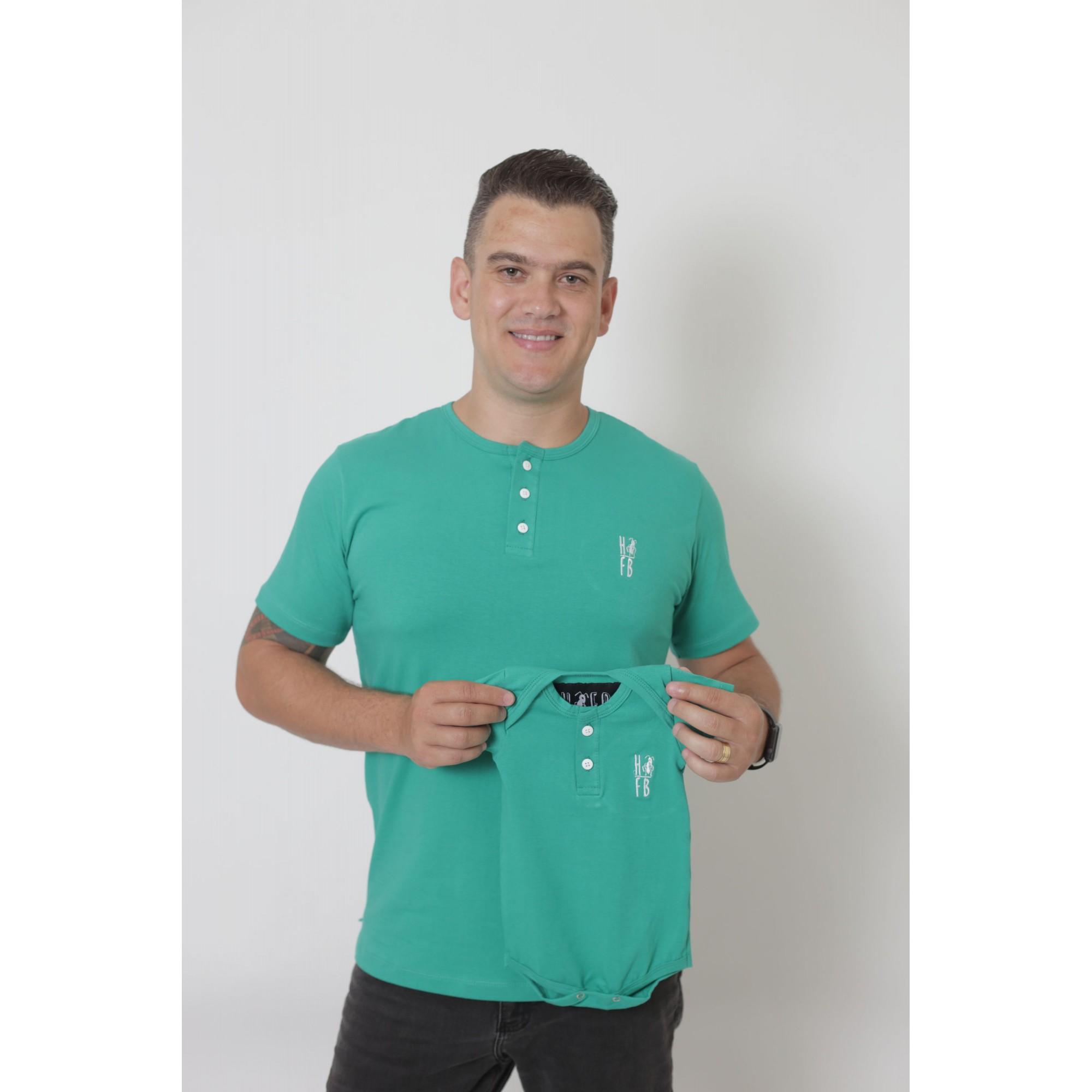 PAI E FILHOS > 02 Peças - T-Shirt + Body Unissex Henley - Verde Jade  [Coleção Tal Pai Tal Filho]