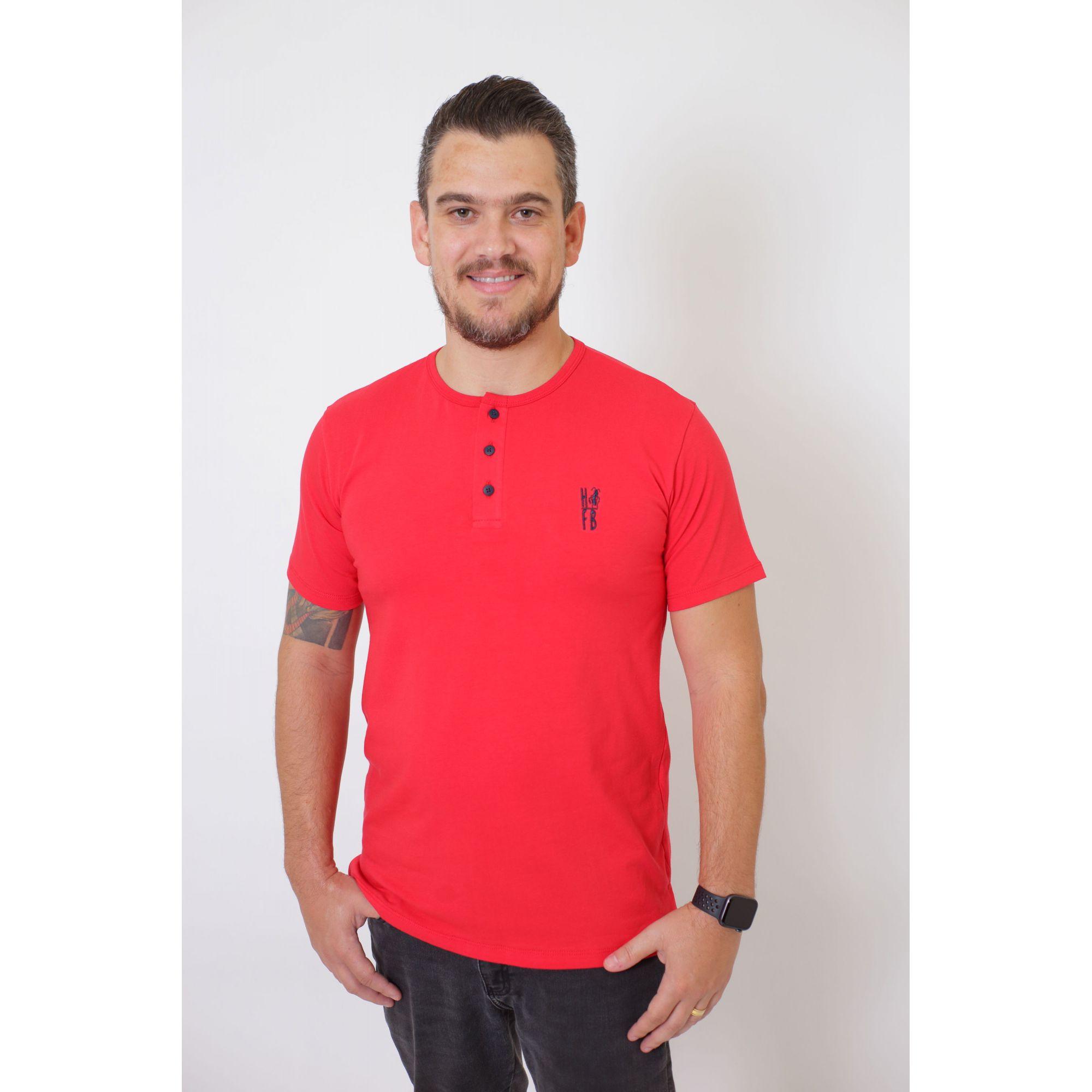 PAI E FILHOS > 02 Peças - T-Shirt + Body Unissex Henley - Vermelho [Coleção Tal Pai Tal Filho]  - Heitor Fashion Brazil
