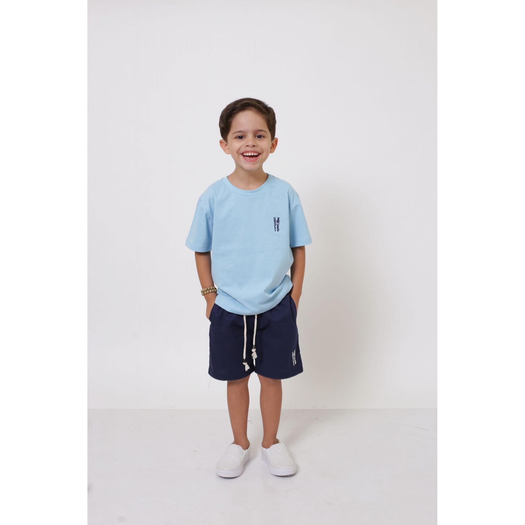 PAI E FILHO > 02 T-Shirts - Azul Bebê [Coleção Tal Pai Tal Filho]  - Heitor Fashion Brazil