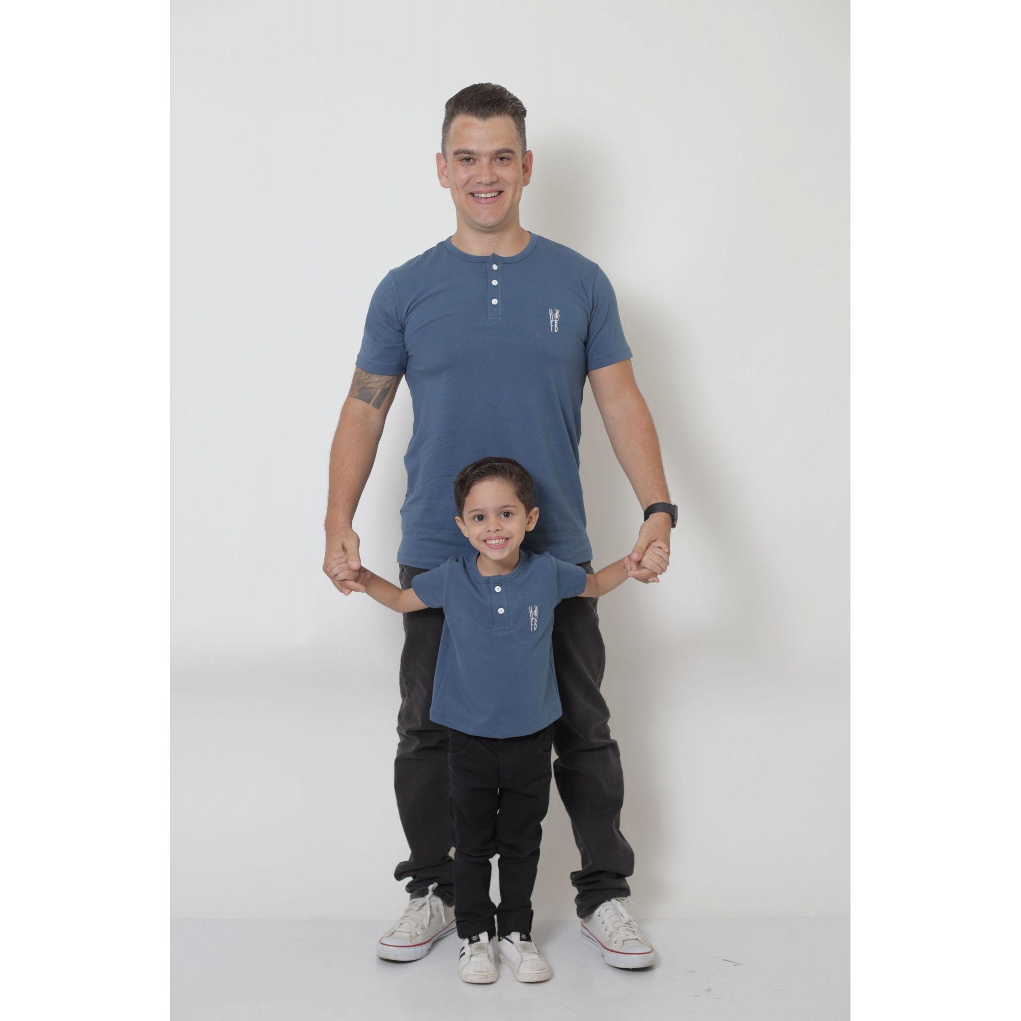 PAI E FILHO > 02 T-Shirts ou Body Henley - Azul Petróleo  [Coleção Tal Pai Tal Filho]