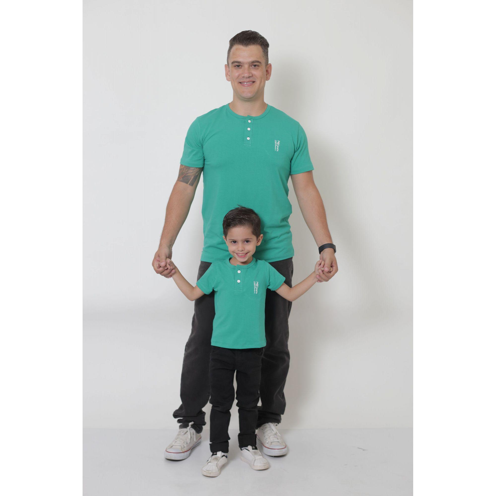 PAI E FILHO > 02 T-Shirts ou Body Henley - Verde Jade  [Coleção Tal Pai Tal Filho]