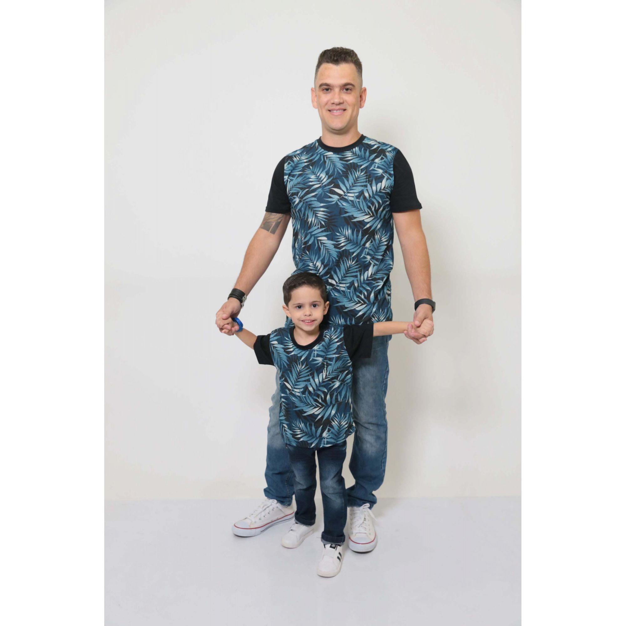 PAI E FILHO > 02 T-Shirts - Tropical  [Coleção Tal Pai Tal Filho]  - Heitor Fashion Brazil