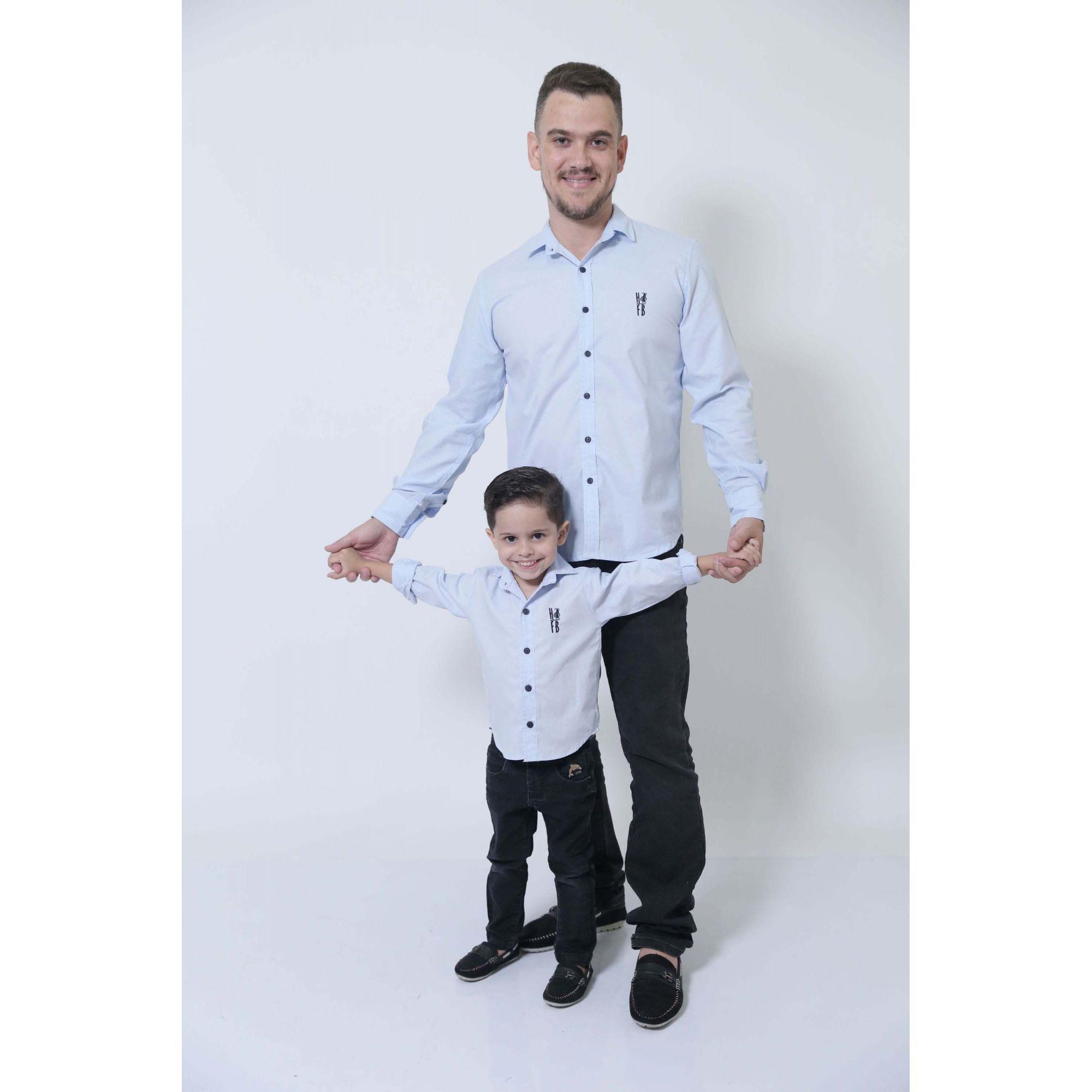 PAI E FILHO > Camisas Social Azul Claro Bebê [Coleção Tal Pai Tal Filho]