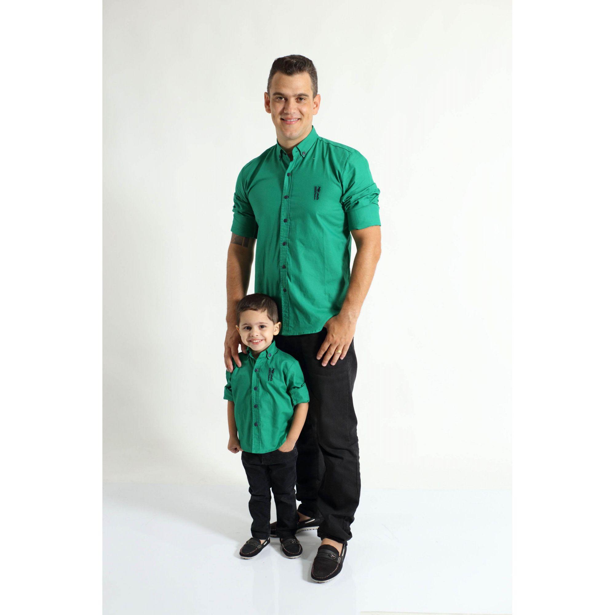 PAI E FILHO > Camisas Social Green Day Verde [Coleção Tal Pai Tal Filho]