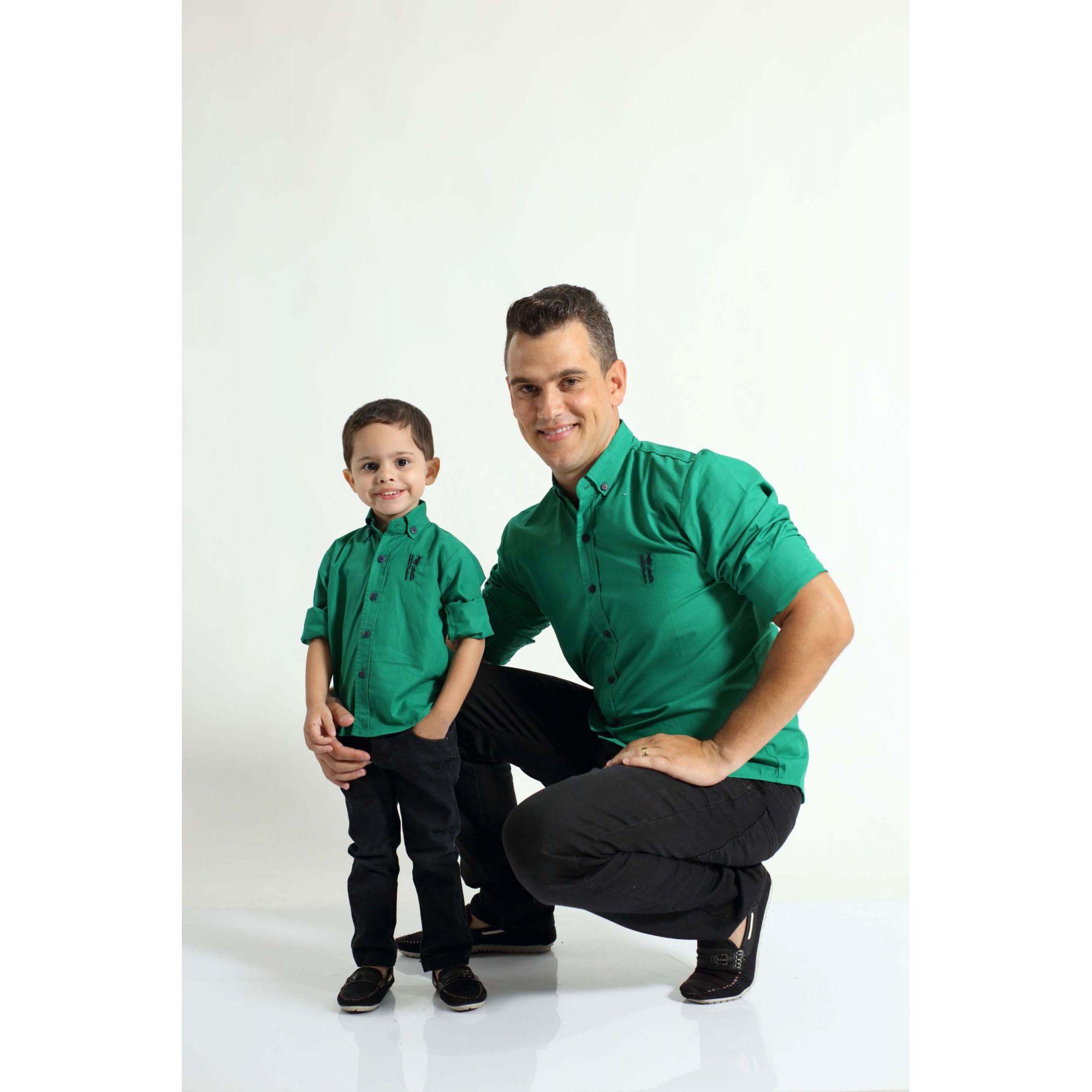 PAI E FILHO > Camisas Social Green Day Verde [Coleção Tal Pai Tal Filho]  - Heitor Fashion Brazil
