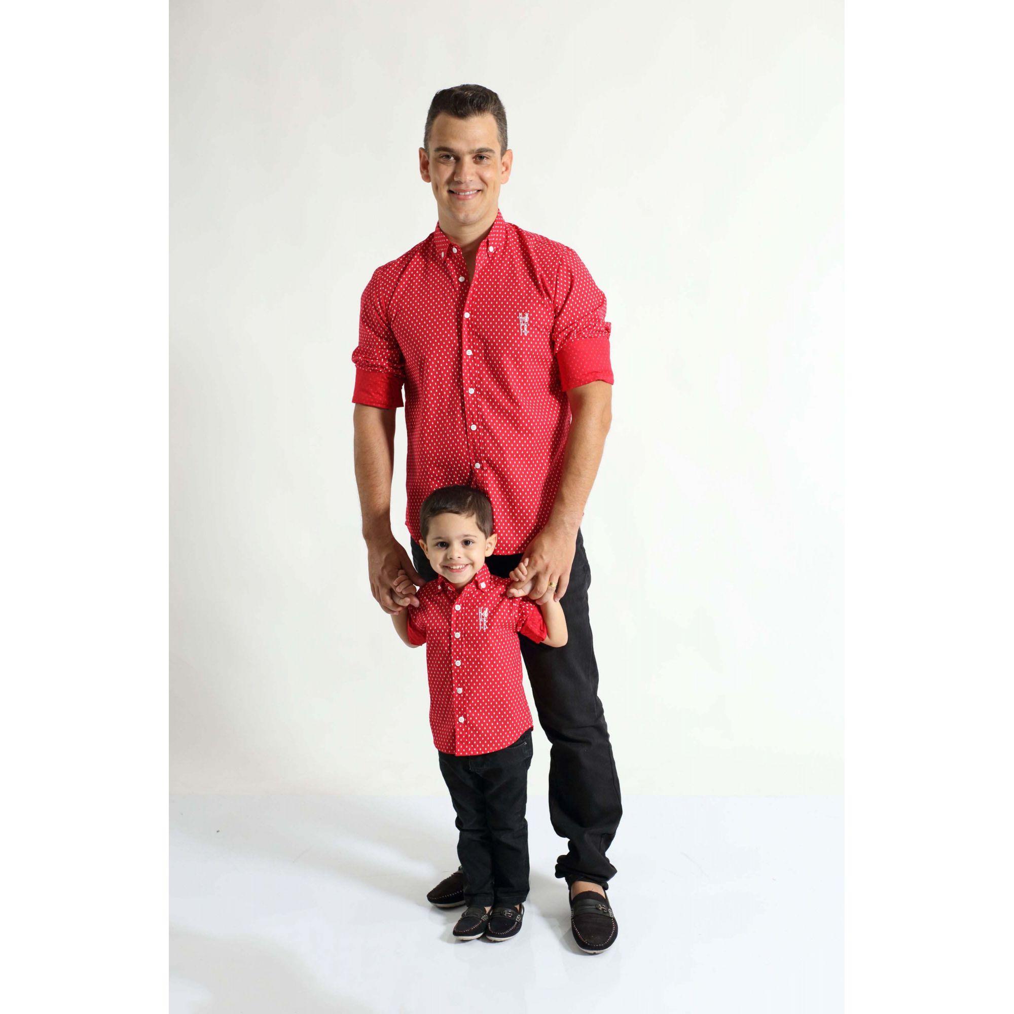 PAI E FILHO > Camisas Social Merry Christmas Vermelha [Coleção Tal Pai Tal Filho]