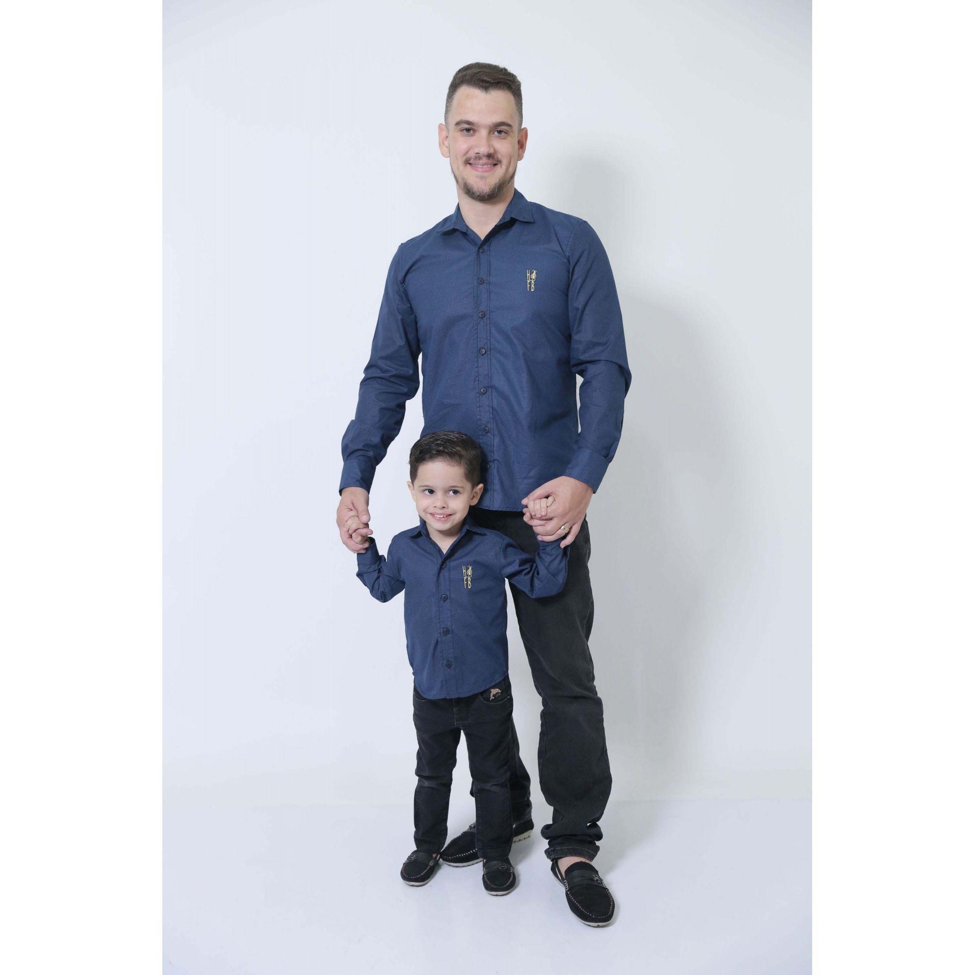 PAI E FILHO > Camisas Social Steven Seagal - Azul Marinho [Coleção Tal Pai Tal Filho]