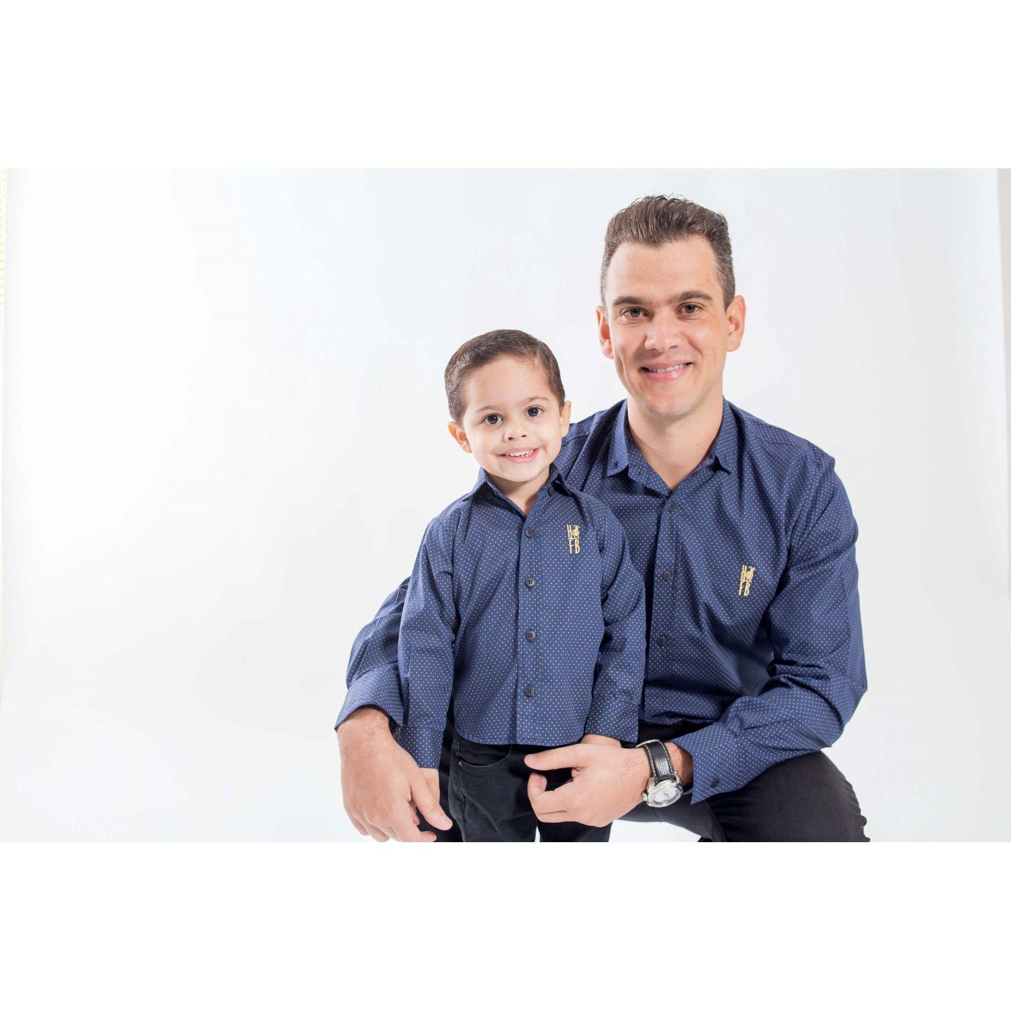 PAI E FILHO > Camisas Social Steven Seagal - Azul Marinho [Coleção Tal Pai Tal Filho]  - Heitor Fashion Brazil