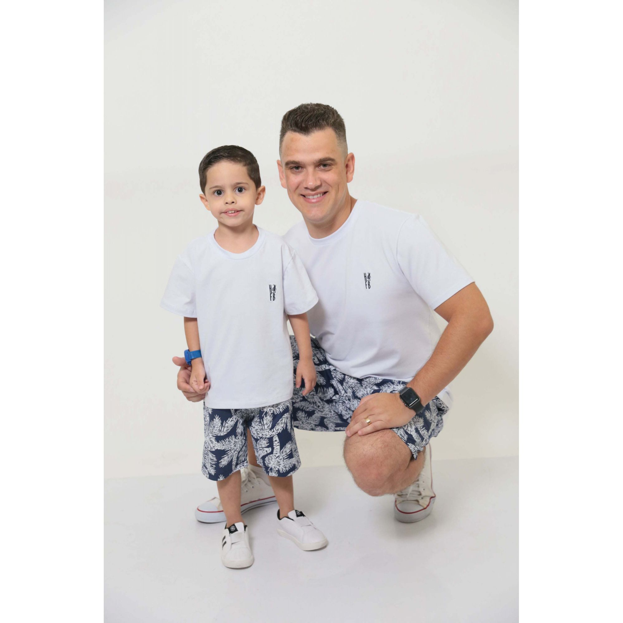 PAI E FILHO > Kit 02 Bermudas Azul Floresta [Coleção Tal Pai Tal Filho]  - Heitor Fashion Brazil