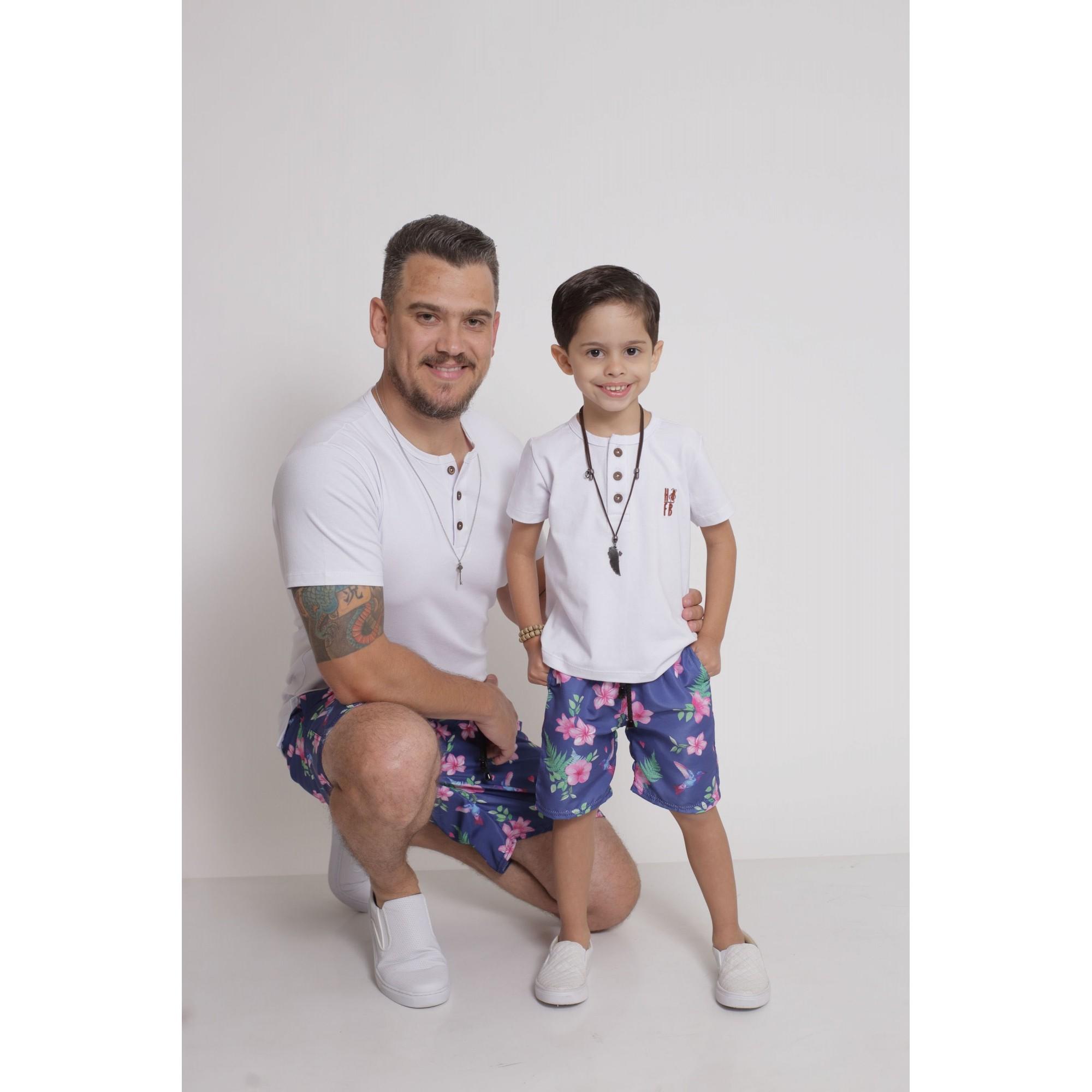 PAI E FILHO > Kit 02 Bermudas Beija Flor [Coleção Tal Pai Tal Filho]  - Heitor Fashion Brazil