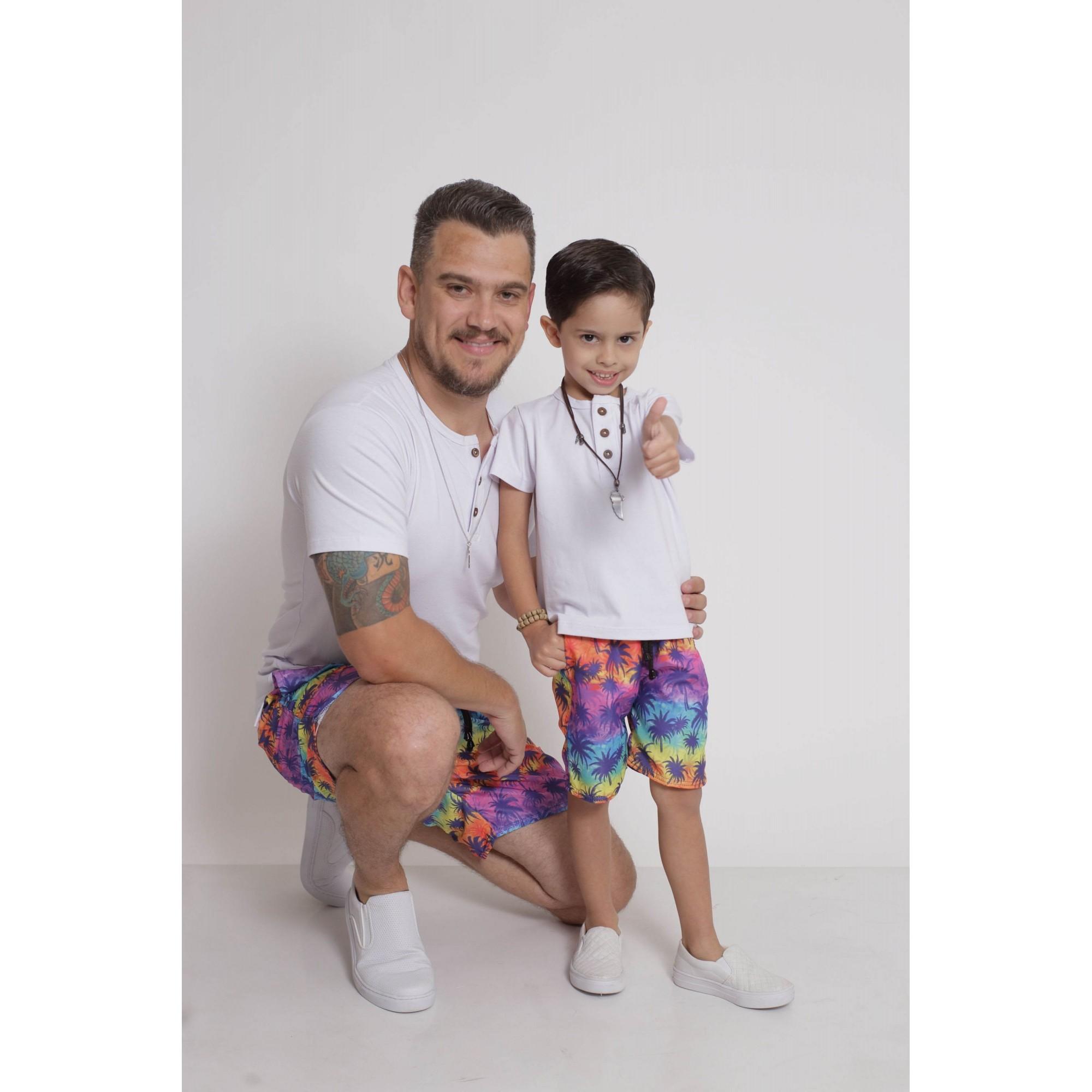 PAI E FILHO > Kit 02 Bermudas Coqueiro [Coleção Tal Pai Tal Filho]  - Heitor Fashion Brazil