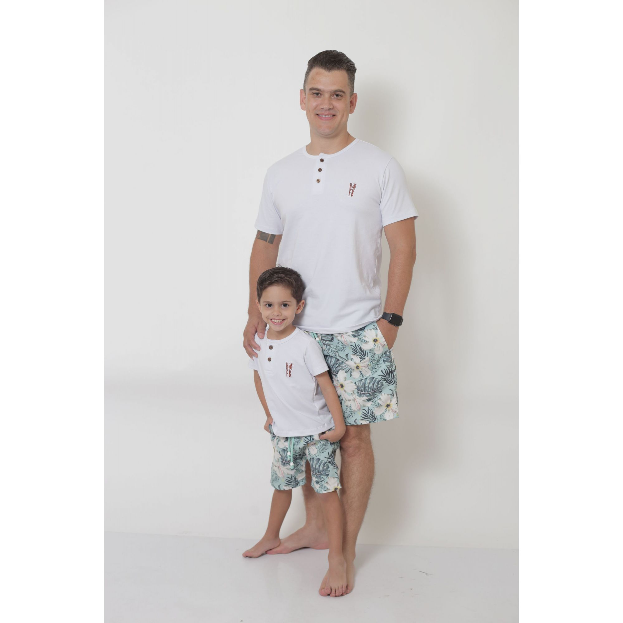 PAI E FILHO > Kit 02 Bermudas Flores Tactel [Coleção Tal Pai Tal Filho]  - Heitor Fashion Brazil