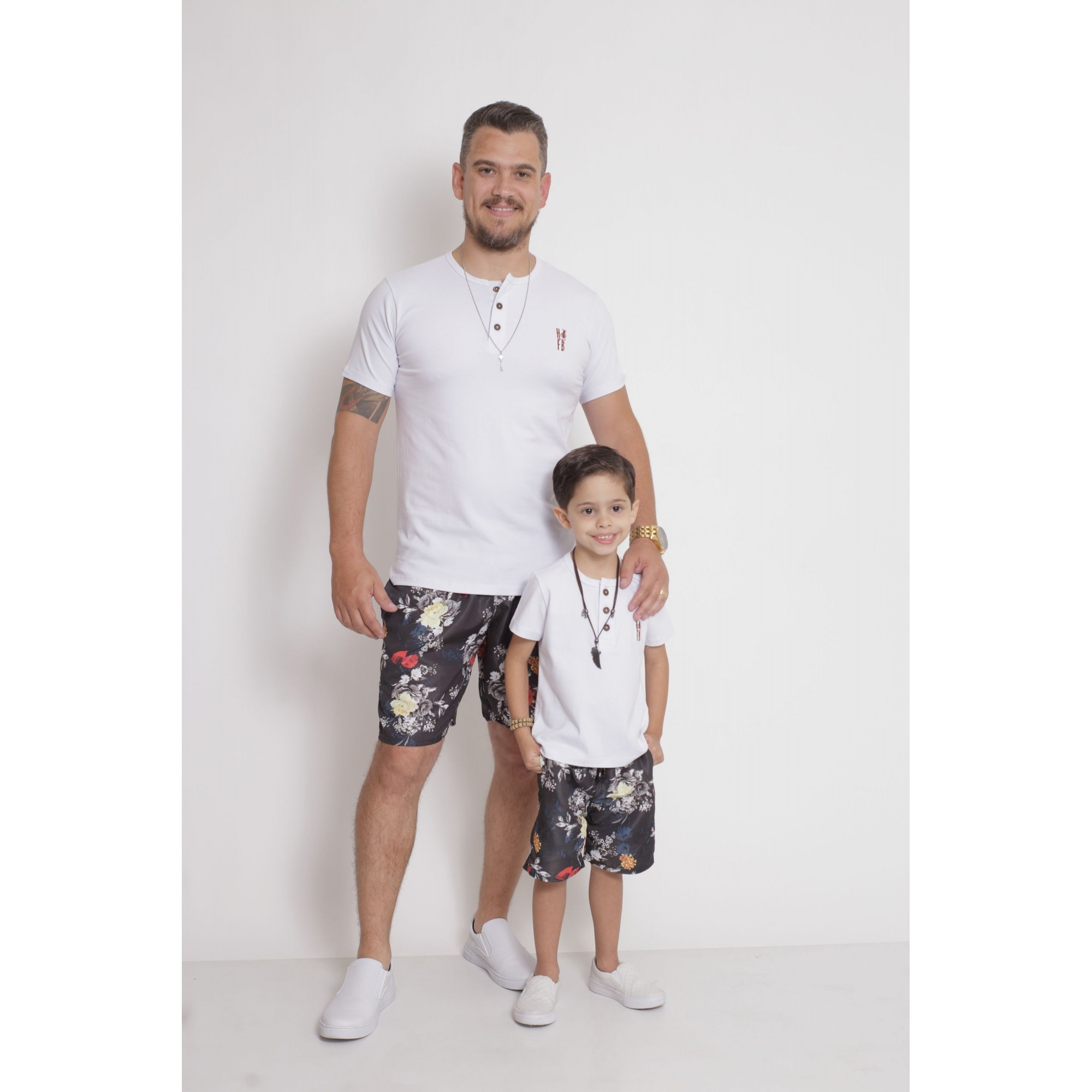 PAI E FILHO > Kit 02 Bermudas Preta Floral [Coleção Tal Pai Tal Filho]  - Heitor Fashion Brazil