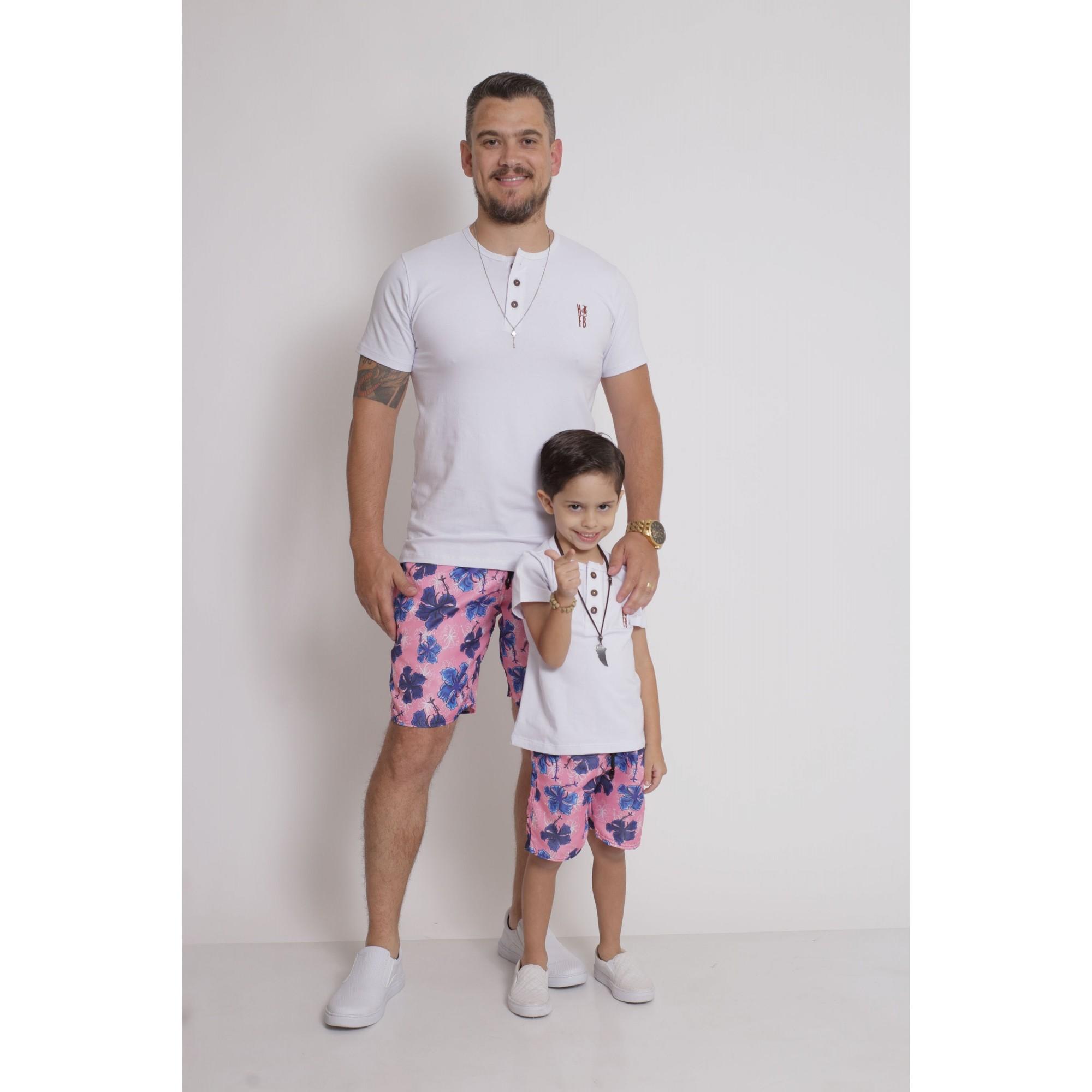 PAI E FILHO > Kit 02 Bermudas Rosa Floral [Coleção Tal Pai Tal Filho]  - Heitor Fashion Brazil