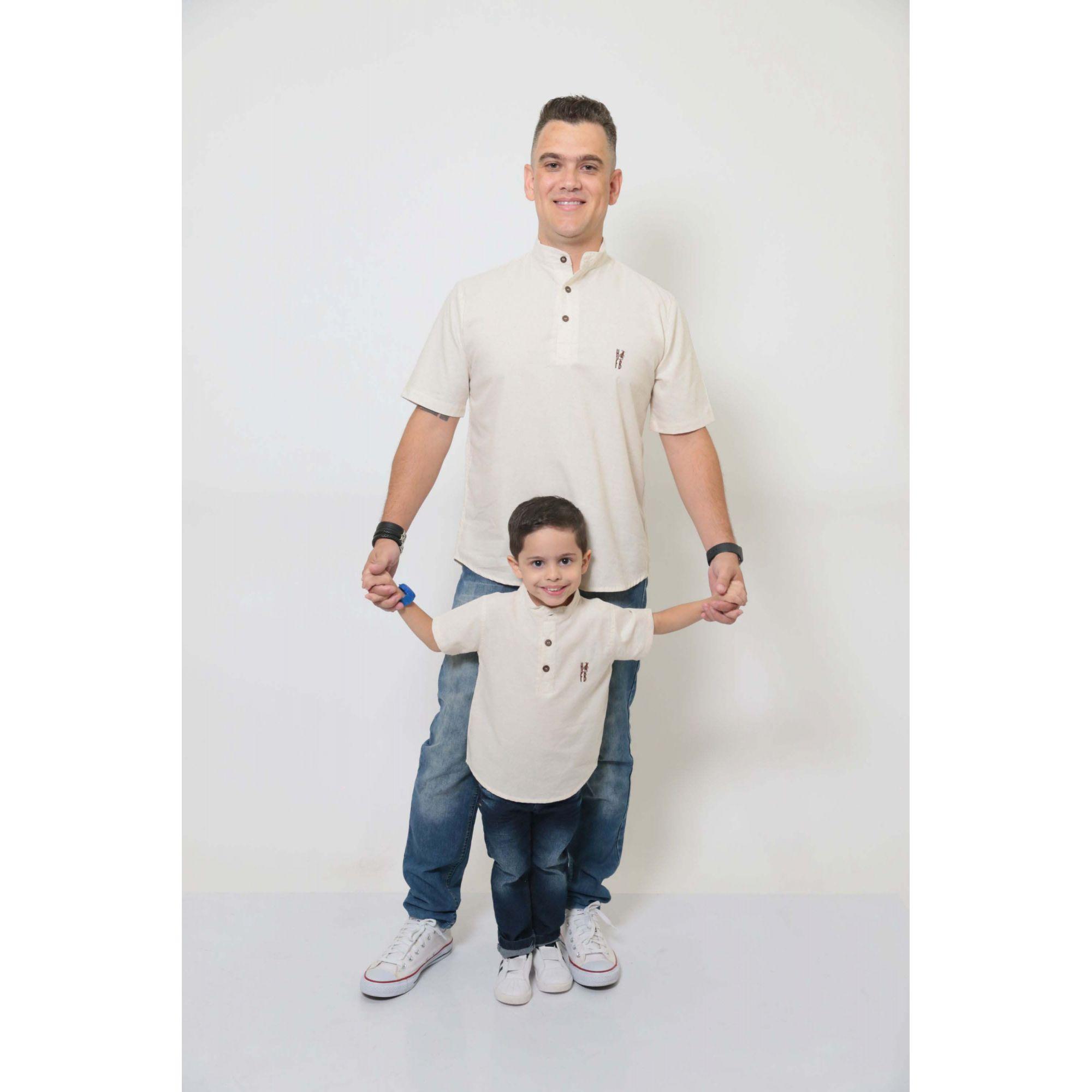 PAI E FILHO > Kit 02 Camisas Bata Gola Padre [Coleção Tal Pai Tal Filho]