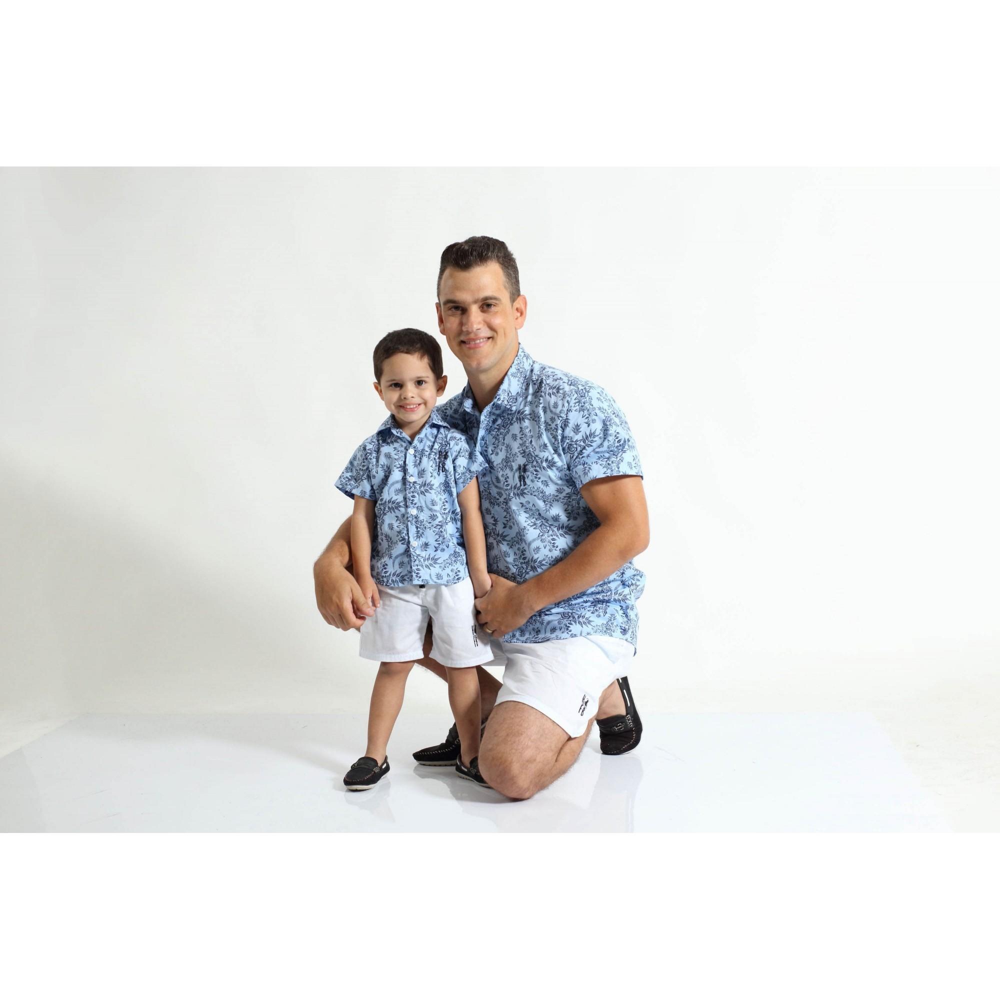 PAI E FILHO > Kit 02 Camisas Manga Curta Azul Floral  [Coleção Tal Pai Tal Filho]  - Heitor Fashion Brazil