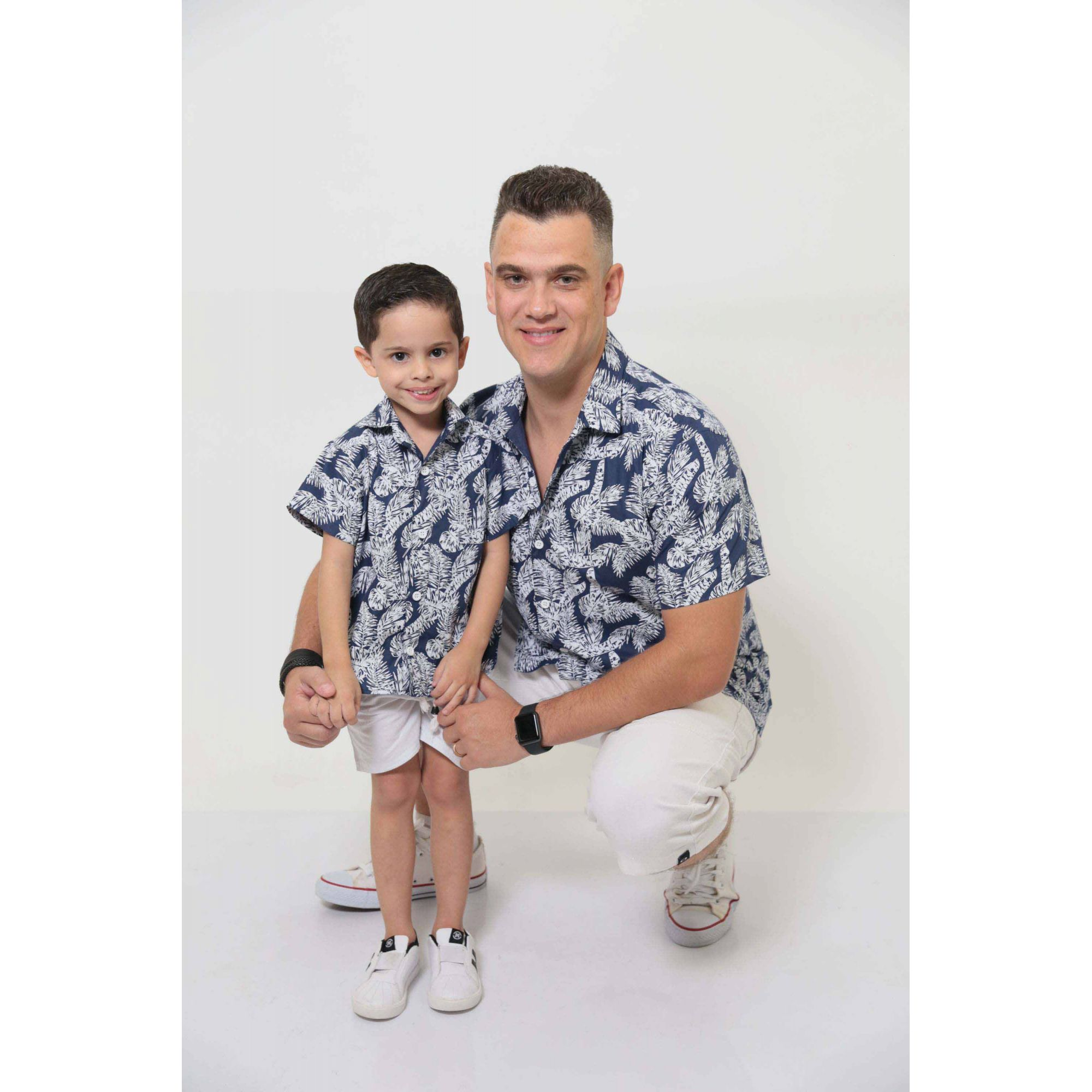 PAI E FILHO > Kit 02 Camisas Manga Curta Azul Floresta  [Coleção Tal Pai Tal Filho]  - Heitor Fashion Brazil
