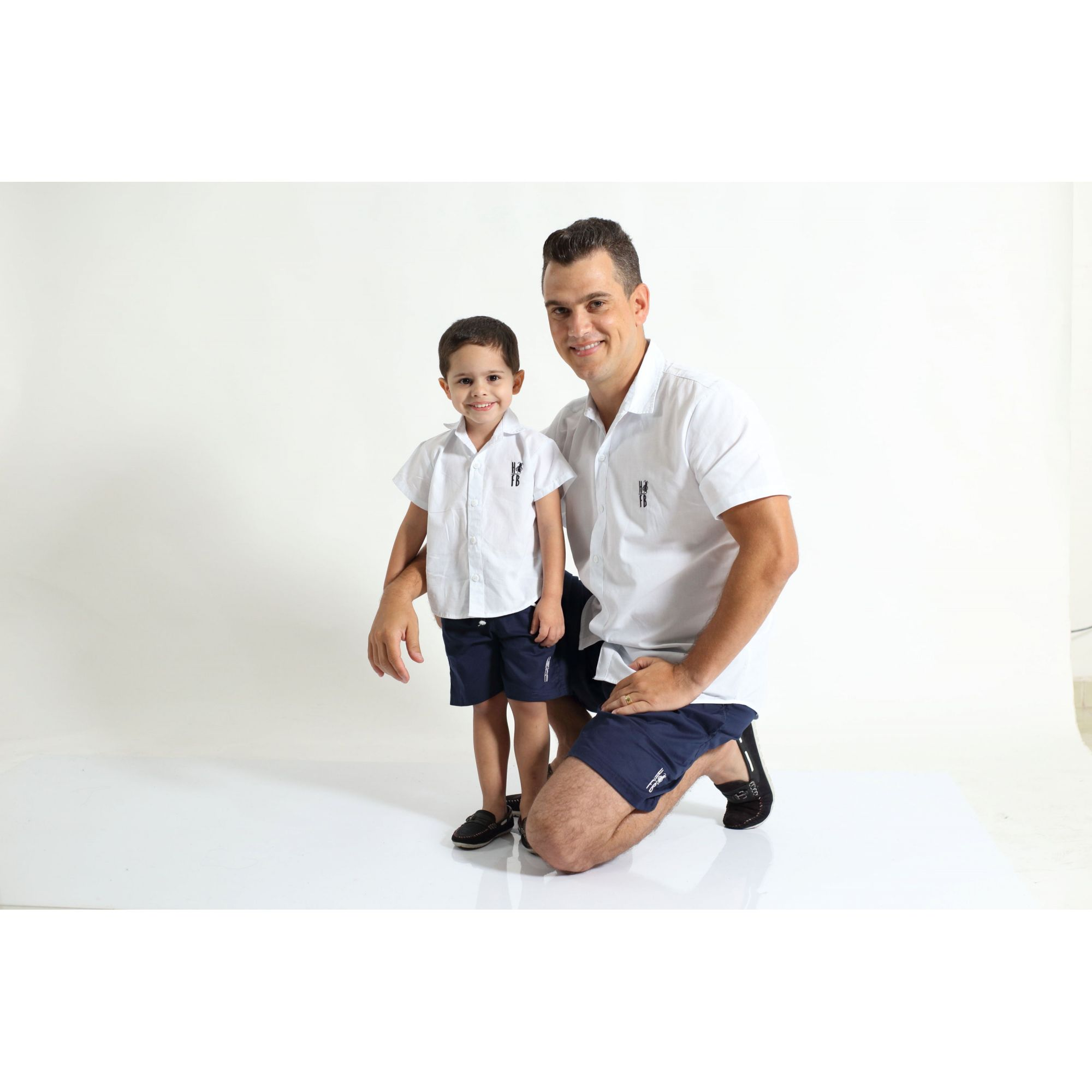 PAI E FILHO > Kit 02 Camisas Manga Curta Branca  [Coleção Tal Pai Tal Filho]  - Heitor Fashion Brazil