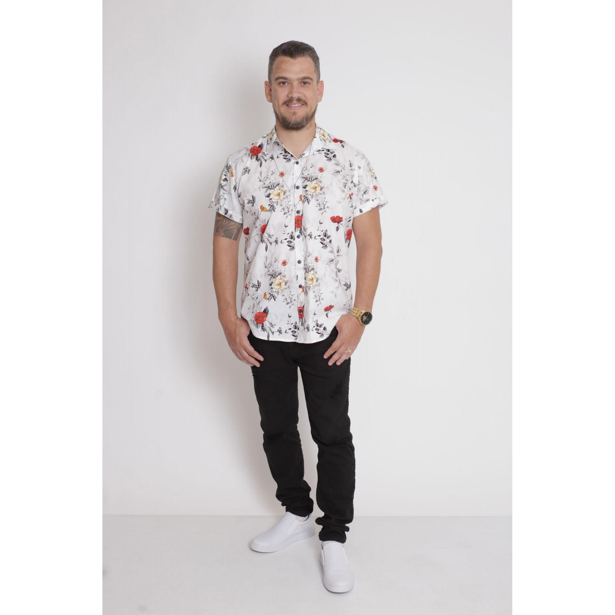 PAI E FILHO > Kit 02 Camisas Manga Curta Branca Floral  [Coleção Tal Pai Tal Filho]  - Heitor Fashion Brazil