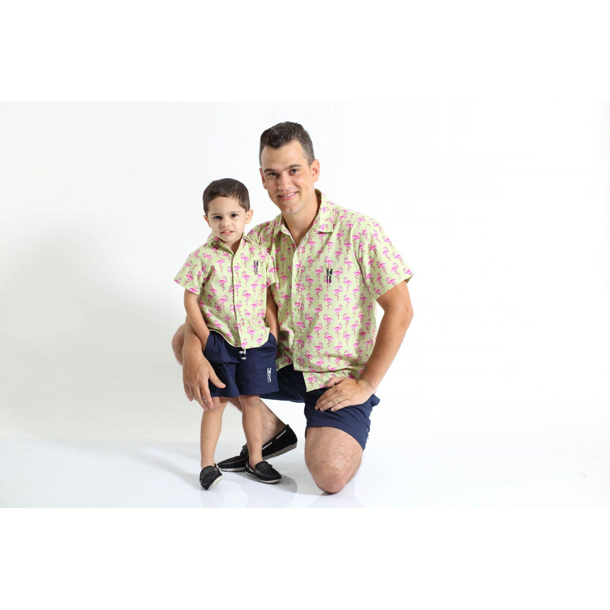 PAI E FILHO > Kit 02 Camisas Manga Curta Flamingo  [Coleção Tal Pai Tal Filho]  - Heitor Fashion Brazil