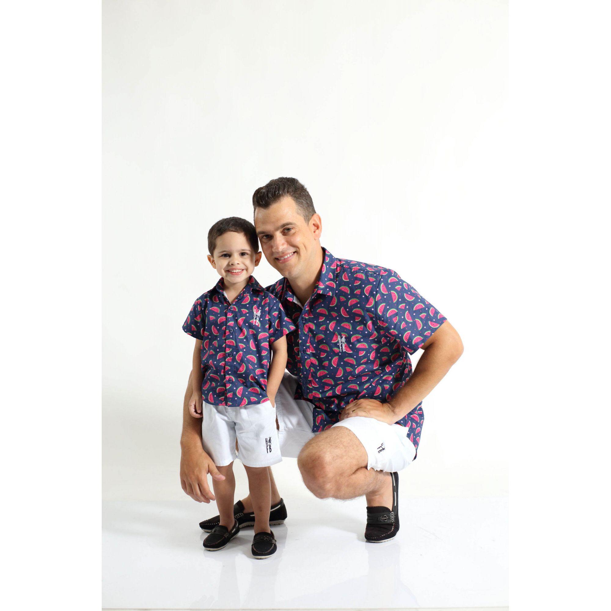 PAI E FILHO > Kit 02 Camisas Manga Curta Melancia  [Coleção Tal Pai Tal Filho]  - Heitor Fashion Brazil