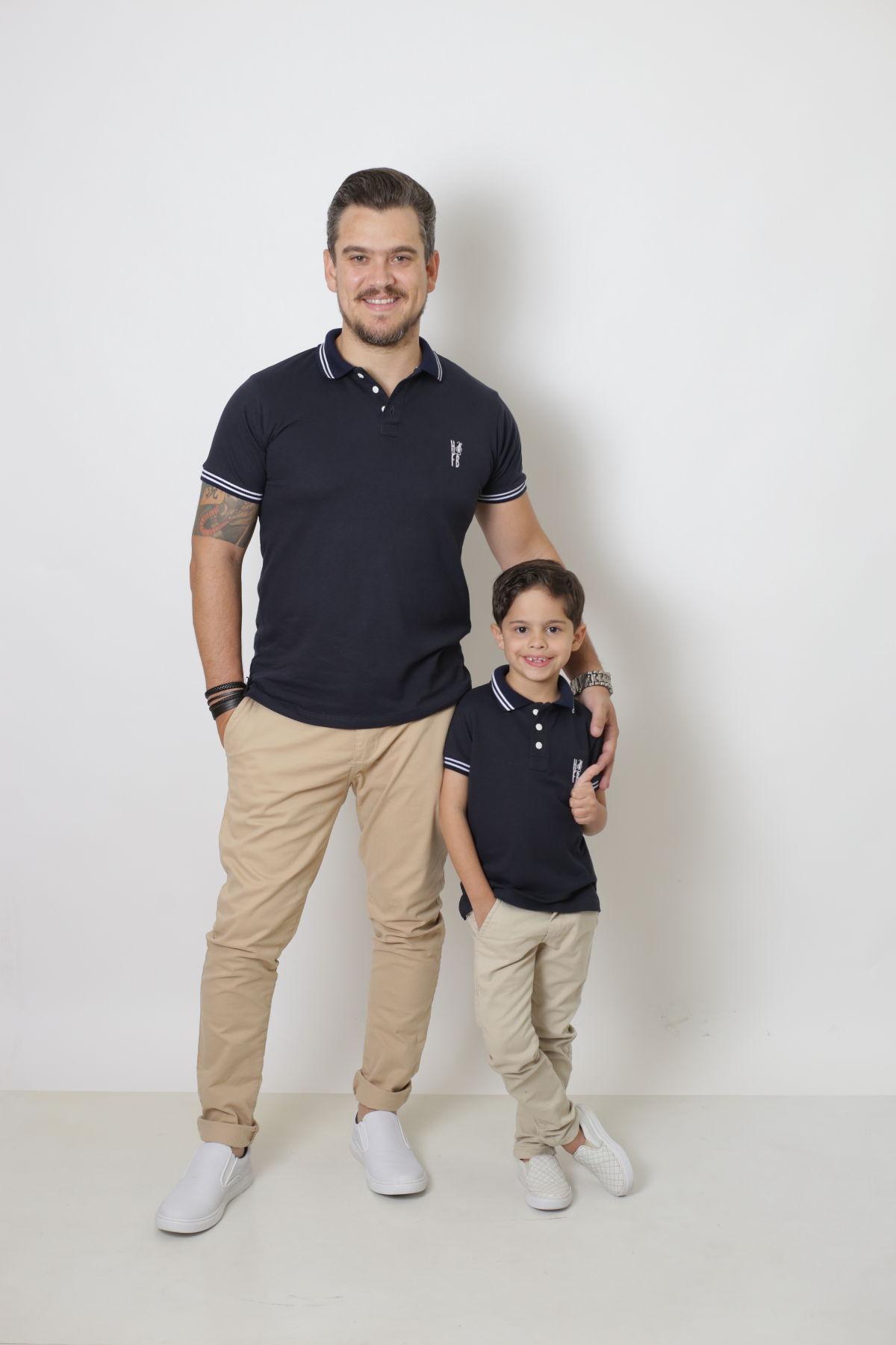 PAI E FILHO > Kit 02 Camisas ou Body Polo Azul Marinho Céu  [Coleção Tal Pai Tal Filho]