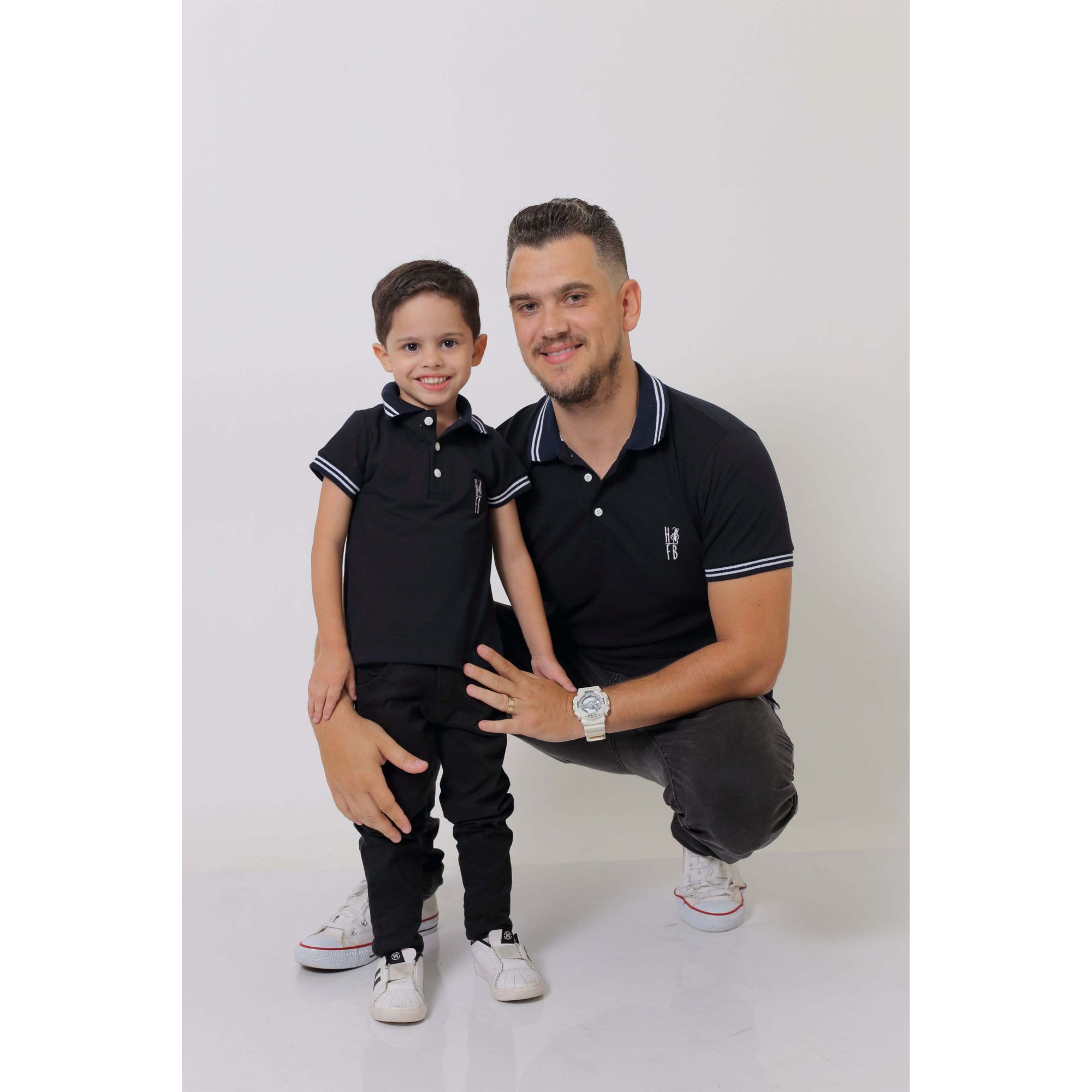 PAI E FILHO > Kit 02 Camisas ou Body Polo Azul Marinho Céu  [Coleção Tal Pai Tal Filho]  - Heitor Fashion Brazil