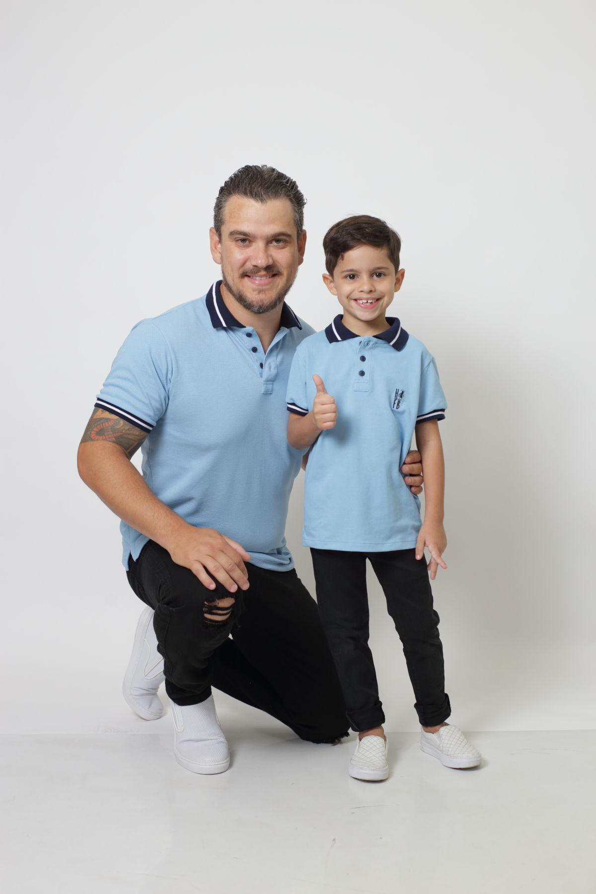 PAI E FILHO > Kit 02 Camisas ou Body Polo Azul Nobreza