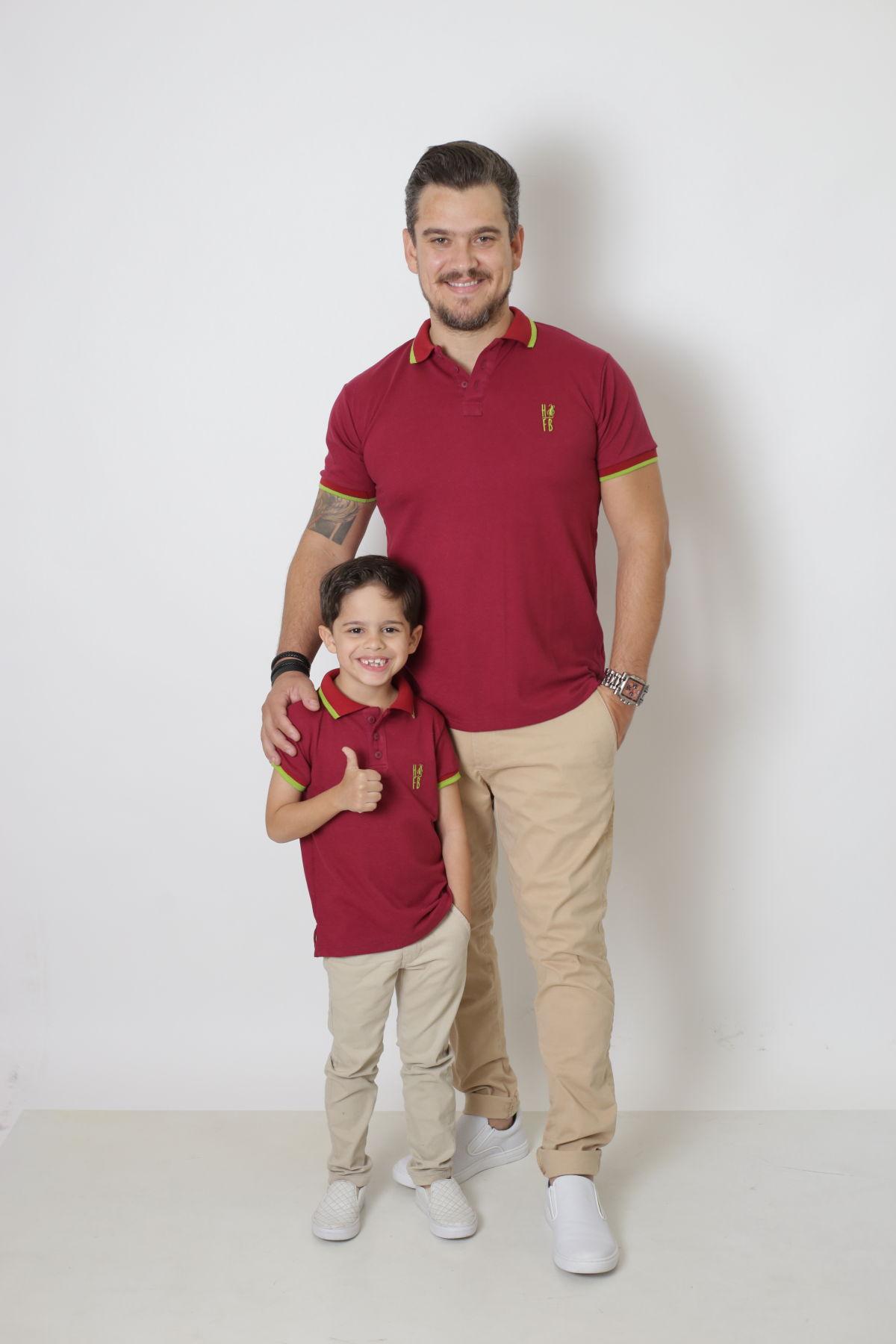 PAI E FILHO > Kit 02 Camisas ou Body Polo Bordo  [Coleção Tal Pai Tal Filho]