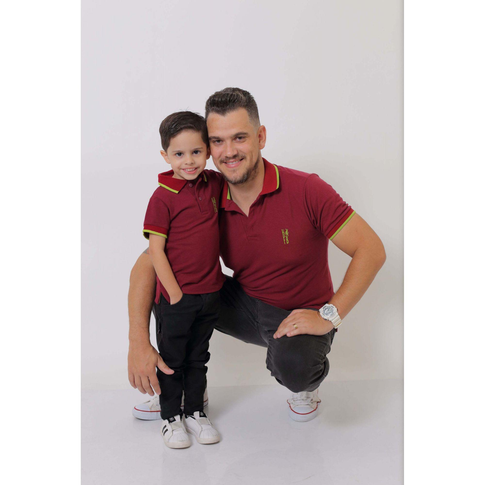 PAI E FILHO > Kit 02 Camisas ou Body Polo Bordo  [Coleção Tal Pai Tal Filho]  - Heitor Fashion Brazil
