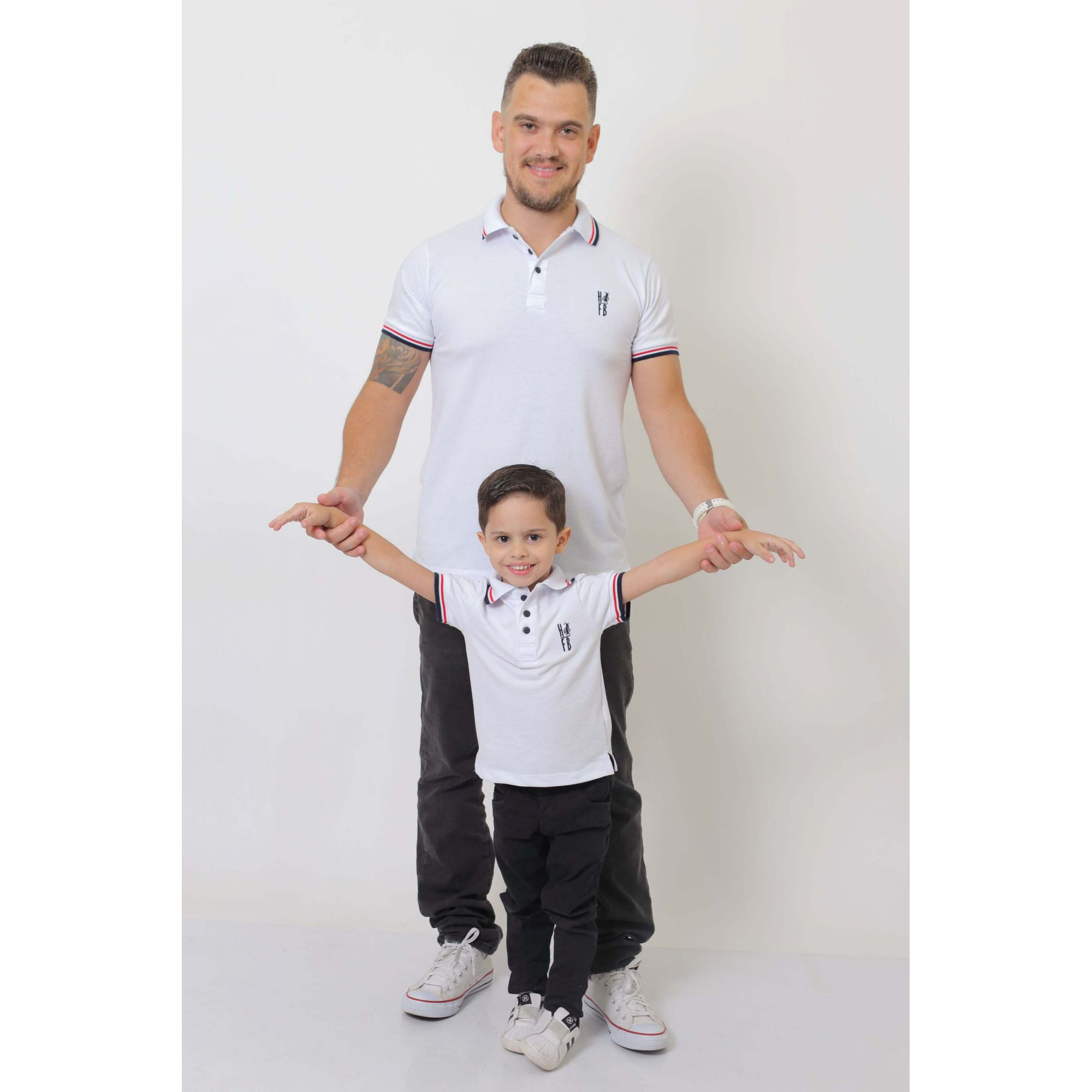 PAI E FILHO > Kit 02 Camisas ou Body Polo Branca  [Coleção Tal Pai Tal Filho]