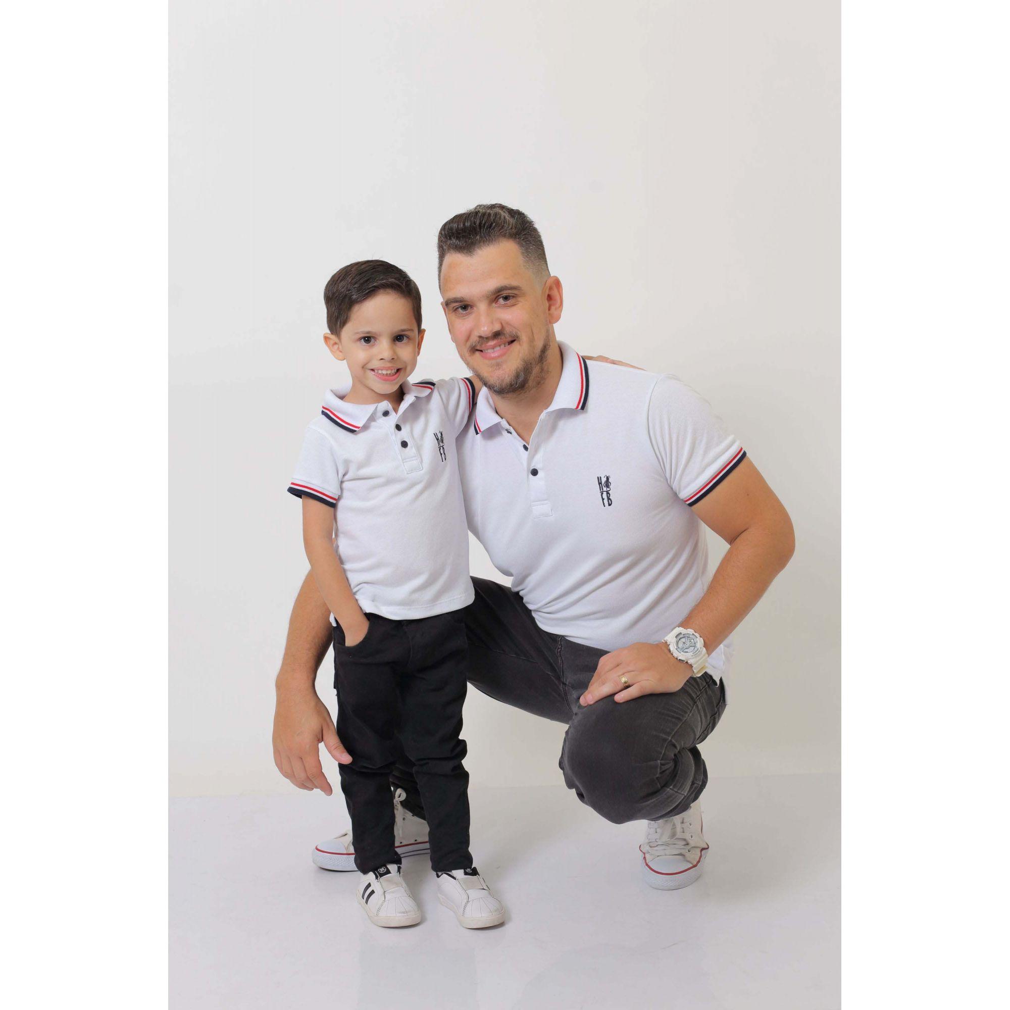 PAI E FILHO > Kit 02 Camisas ou Body Polo Branca  [Coleção Tal Pai Tal Filho]  - Heitor Fashion Brazil