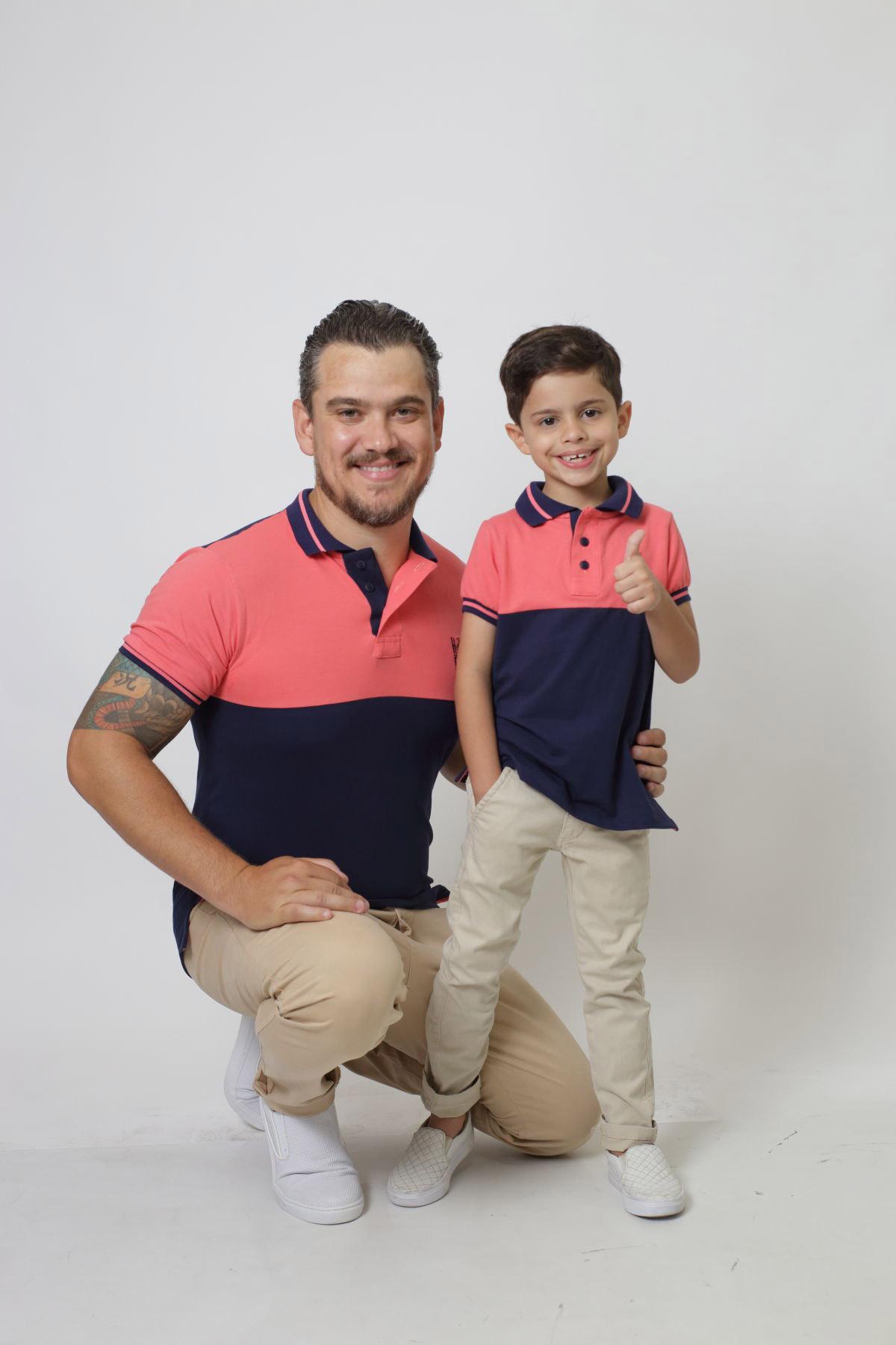 PAI E FILHO > Kit 02 Camisas ou Body Polo Goiaba com Marinho PREMIUM