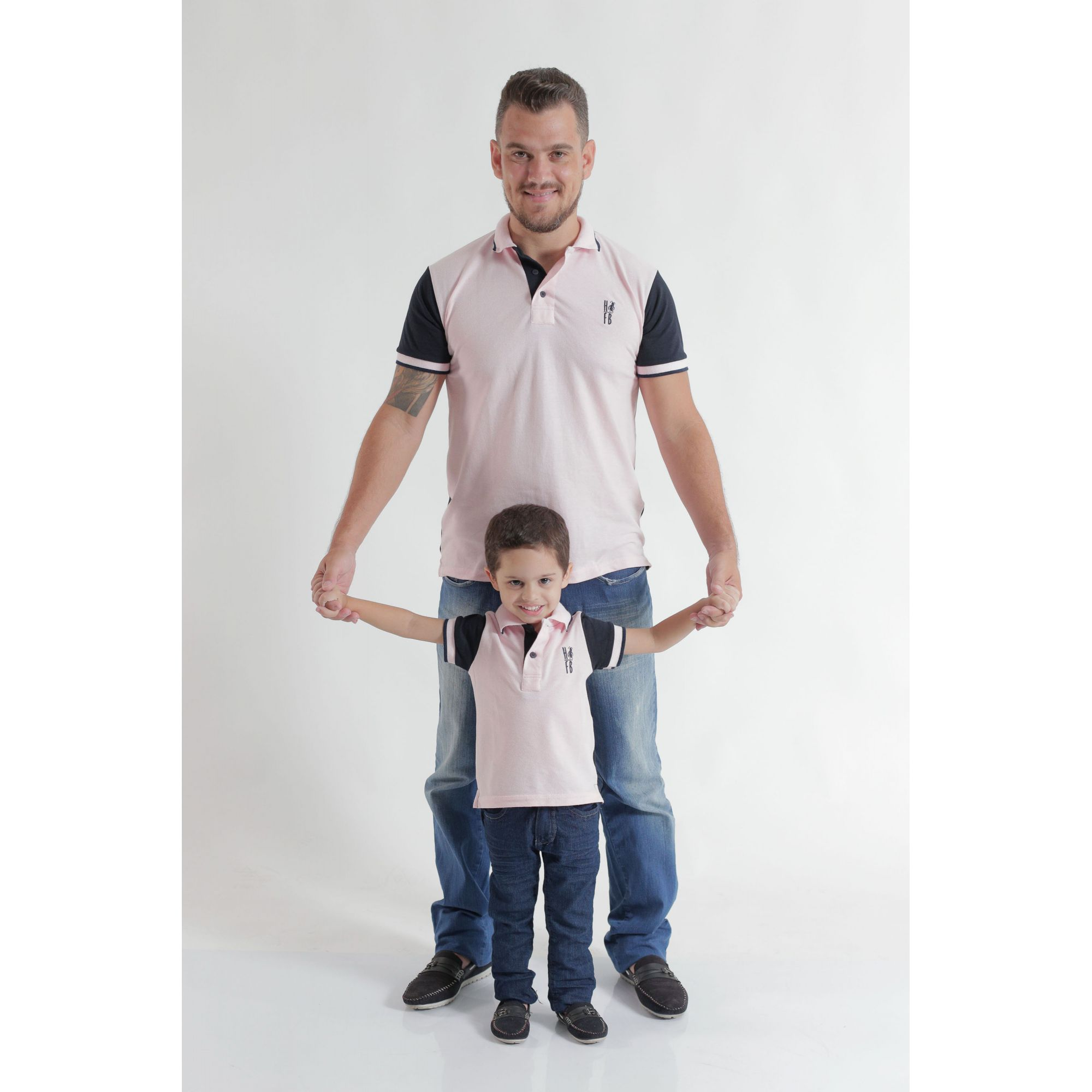 PAI E FILHO > Kit 02 Camisas ou Body Polo Rosa com Azul Marinho  [Coleção Tal Pai Tal Filho]