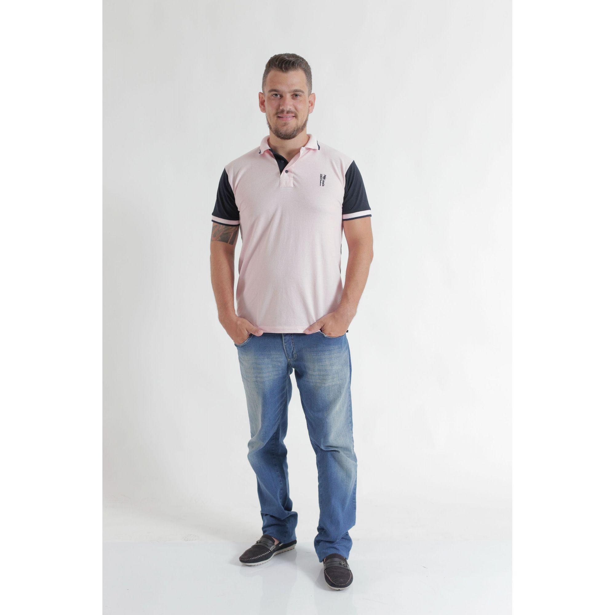 PAI E FILHO > Kit 02 Camisas ou Body Polo Rosa com Azul Marinho  [Coleção Tal Pai Tal Filho]  - Heitor Fashion Brazil