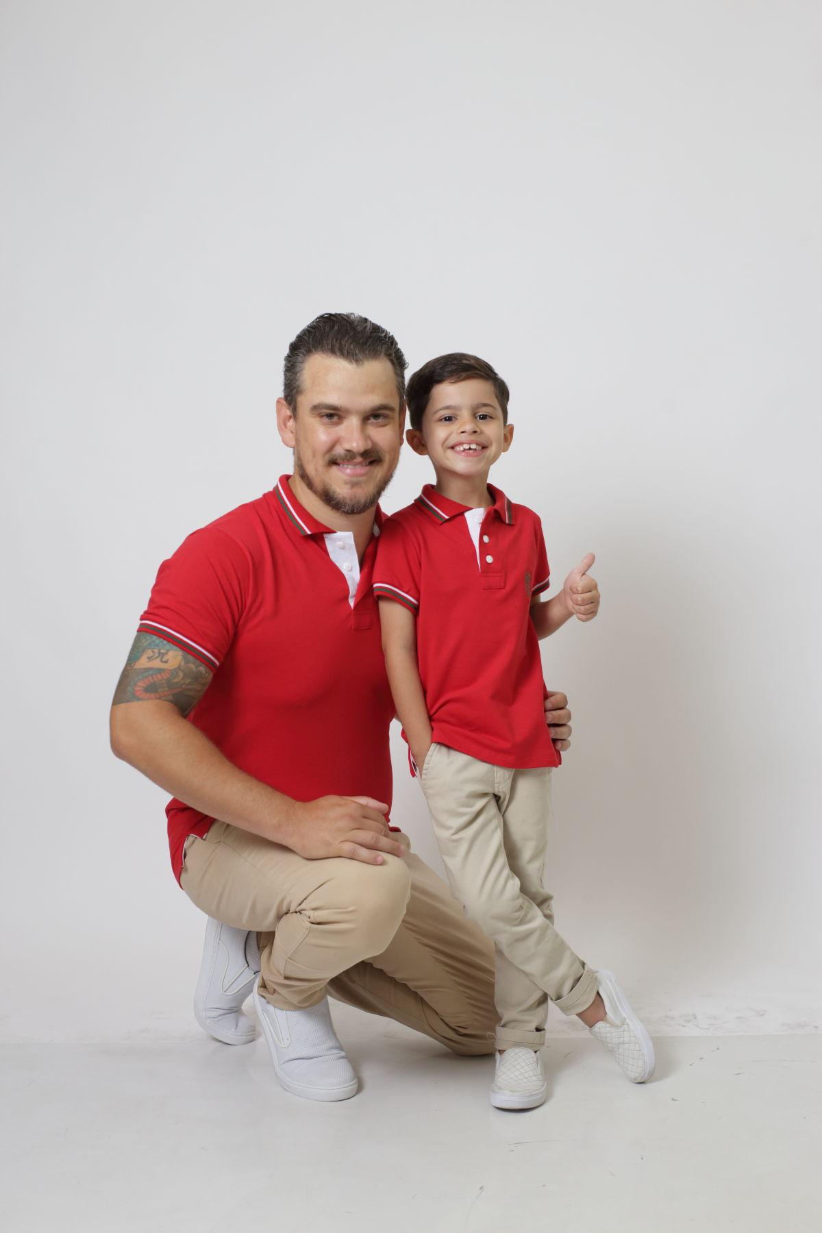 PAI E FILHO > Kit 02 Camisas ou Body Polo Vermelho PREMIUM