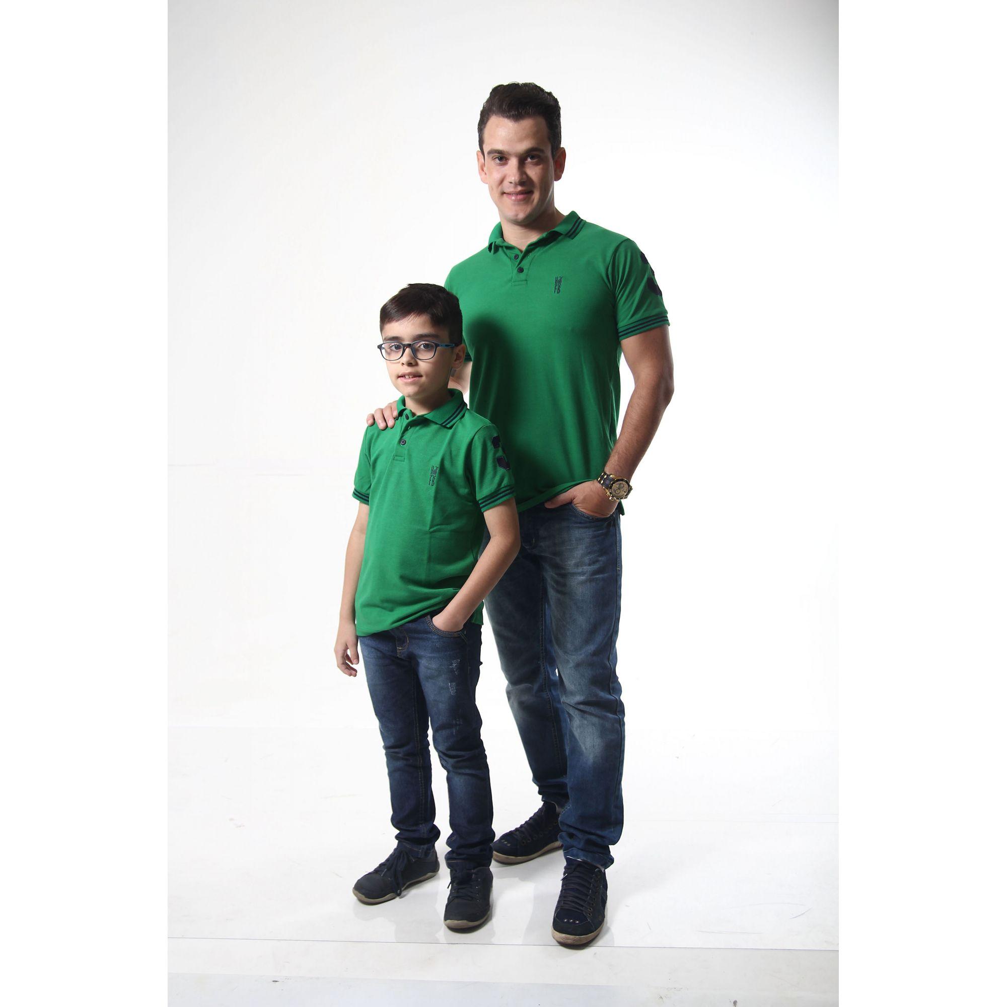 PAI E FILHO > Kit 02 Camisas ou Body Polo Verde Esperança [Coleção Tal Pai Tal Filho]