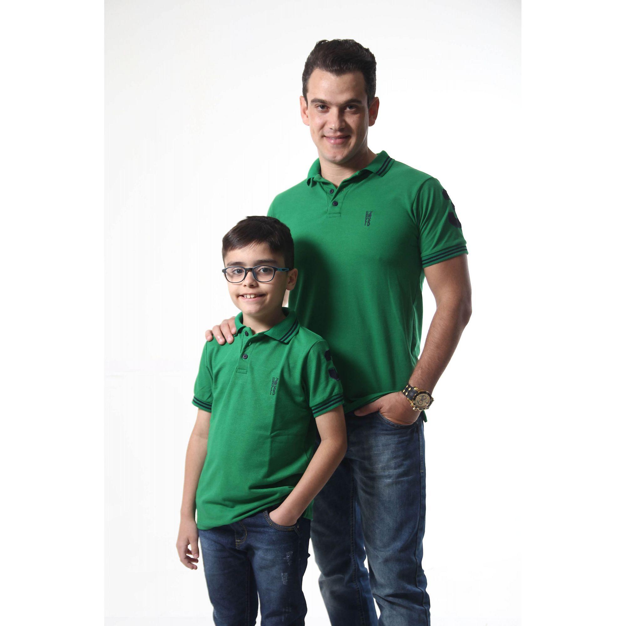 PAI E FILHO > Kit 02 Camisas ou Body Polo Verde Esperança [Coleção Tal Pai Tal Filho]  - Heitor Fashion Brazil